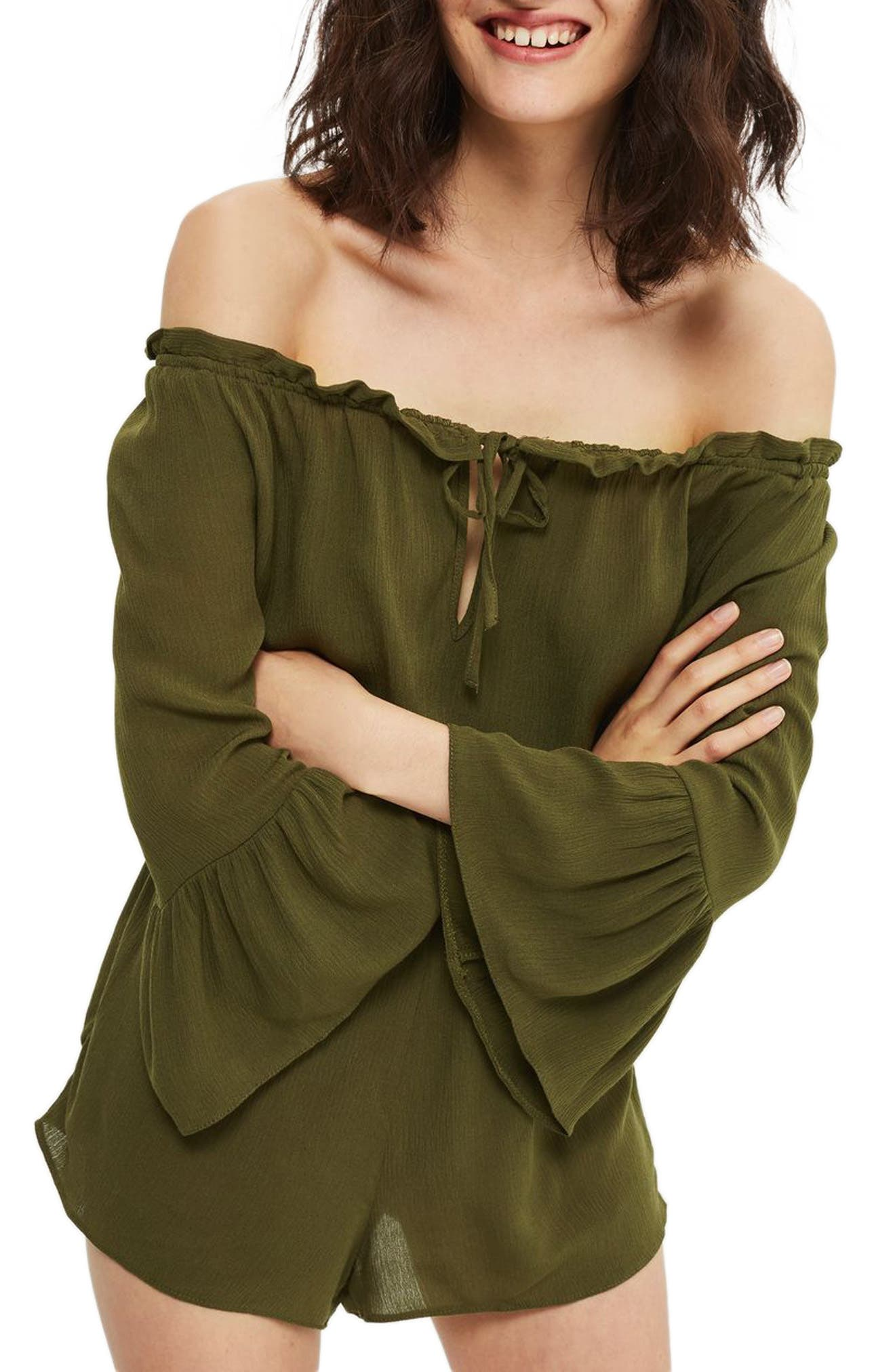 Topshop Flute Sleeve Off the Shoulder Romper