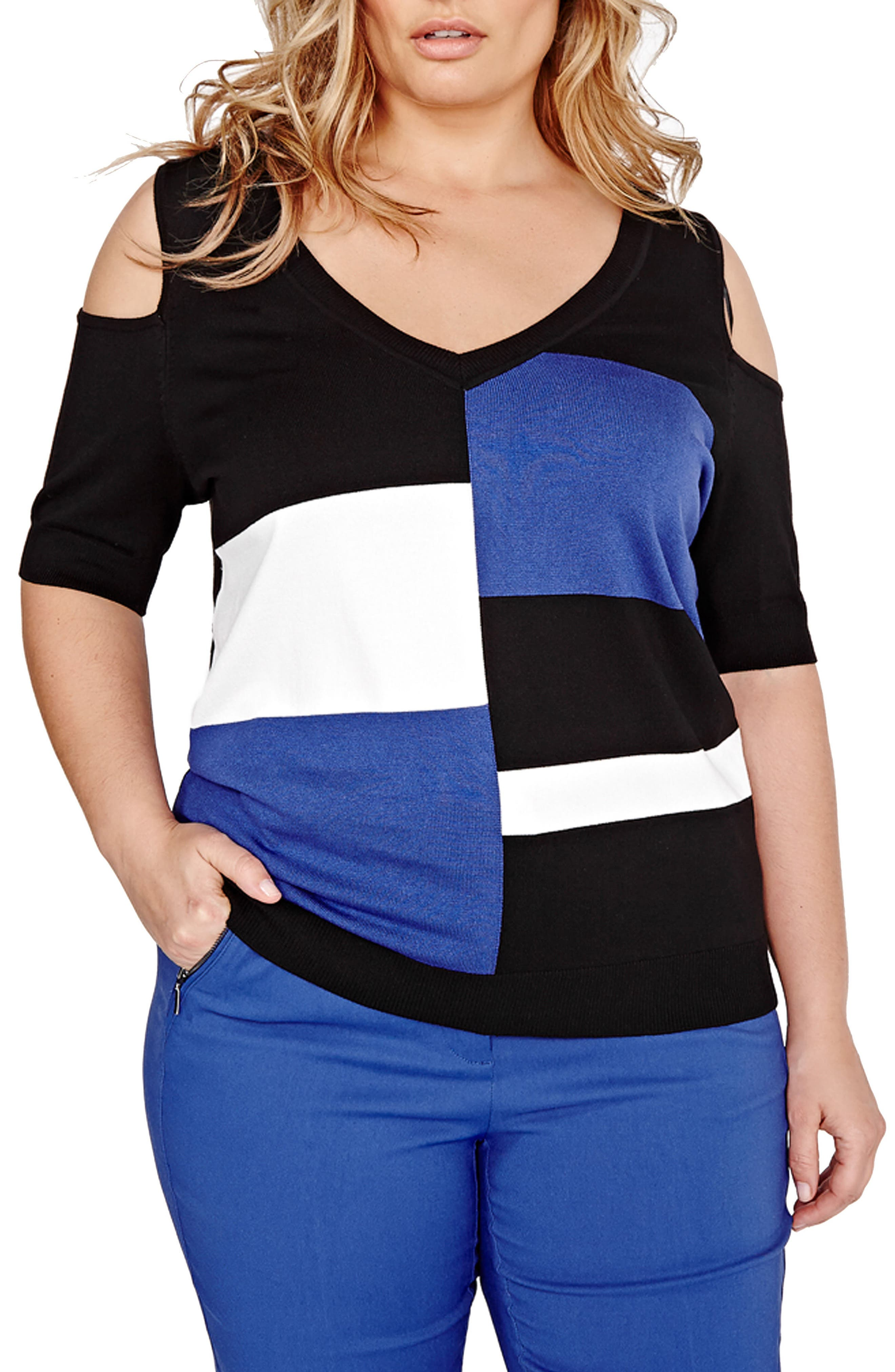MICHEL STUDIO Cold Shoulder Colorblock Sweater (Plus Size)