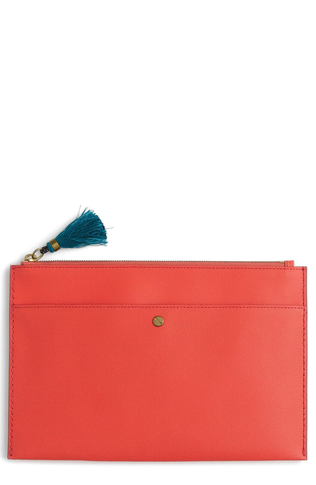 J. Crew Large Leather Zip Pouch