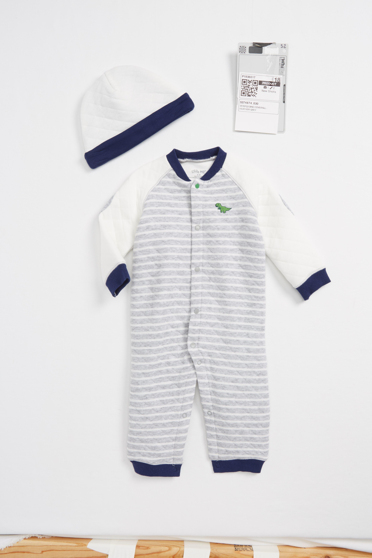 Little Me Striped Dino Romper & Hat Set (Baby Boys)