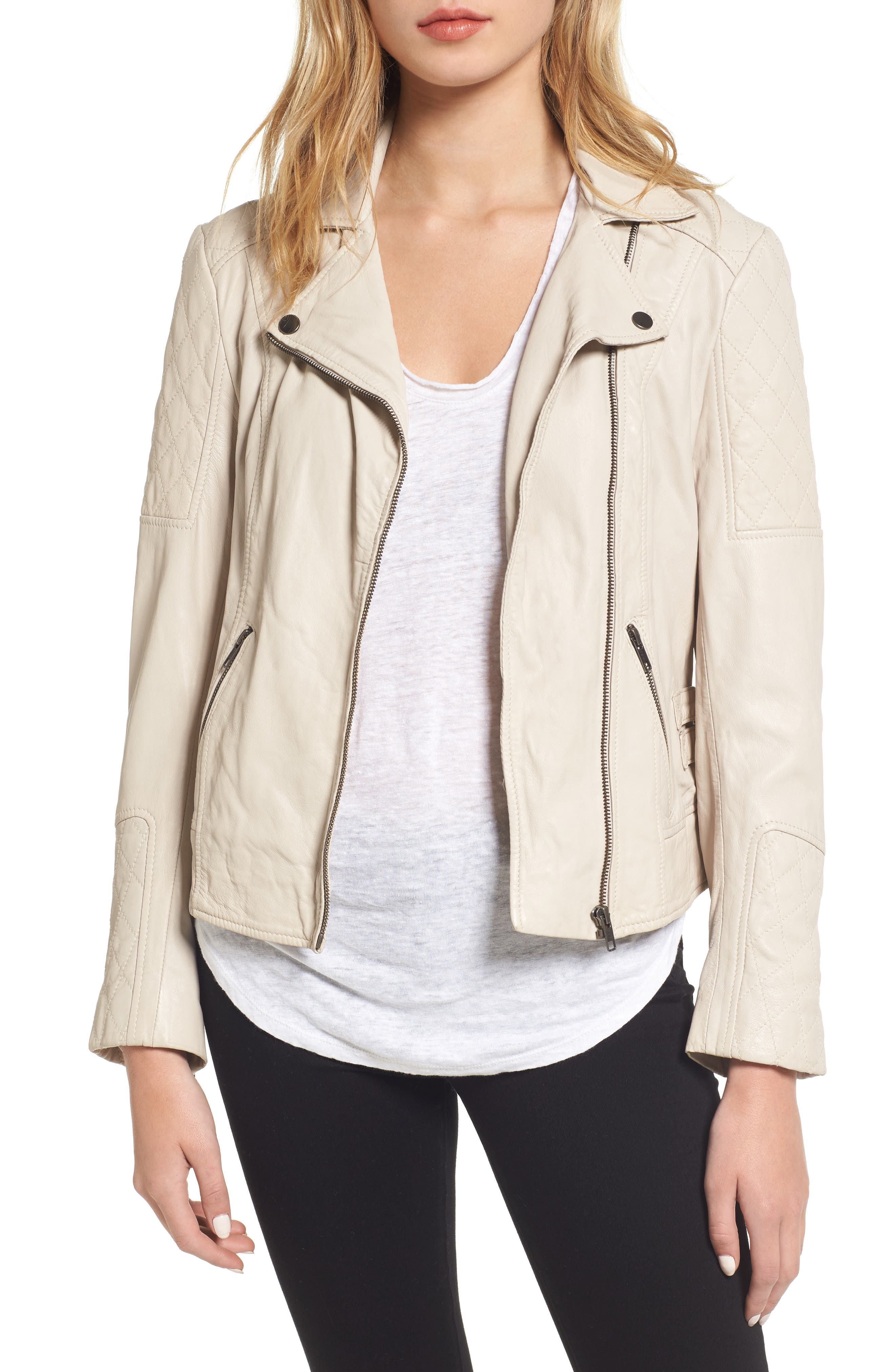 cupcakes and cashmere Darby Leather Moto Jacket