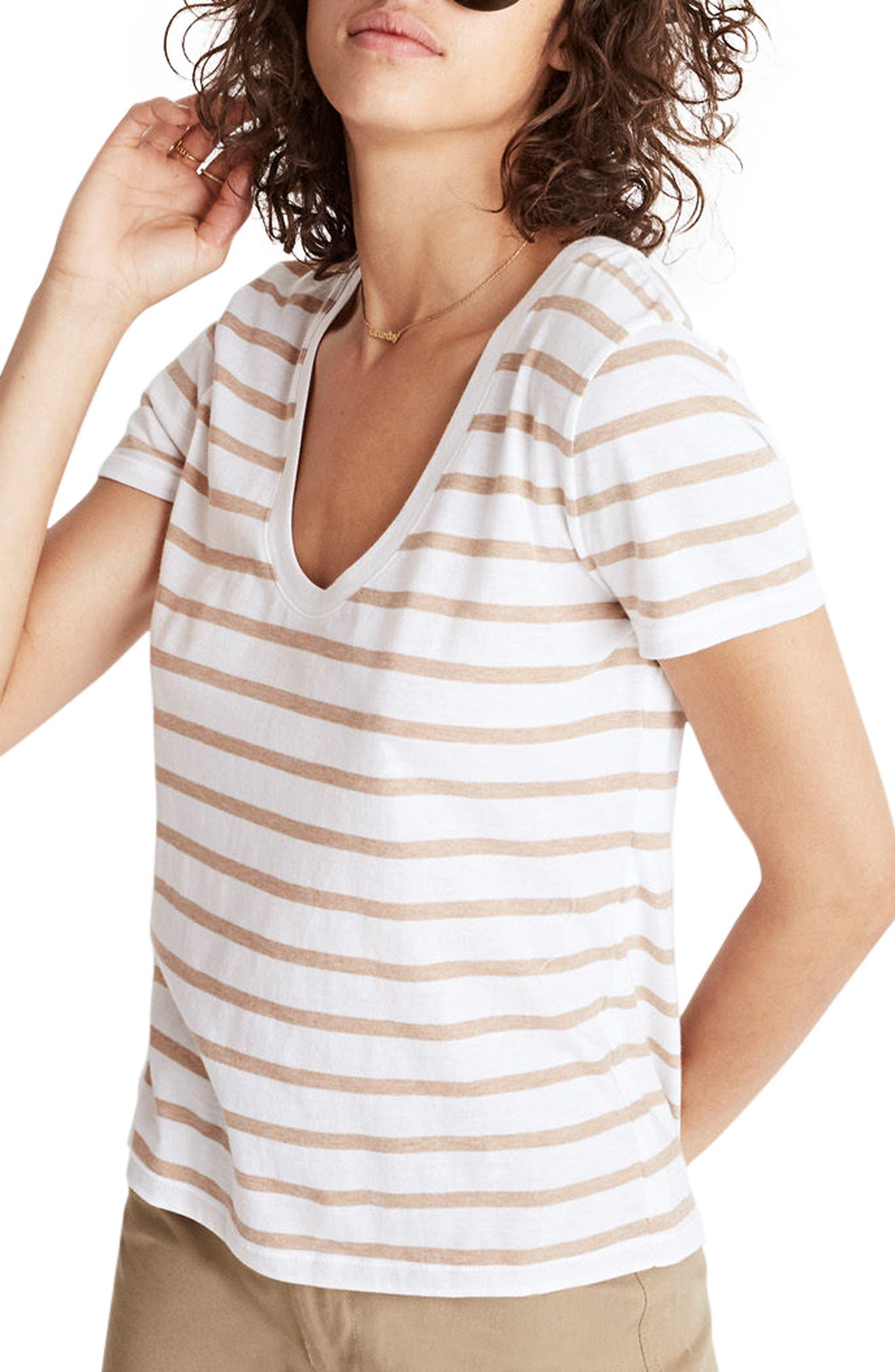 Madewell Stripe Alto Scoop Tee