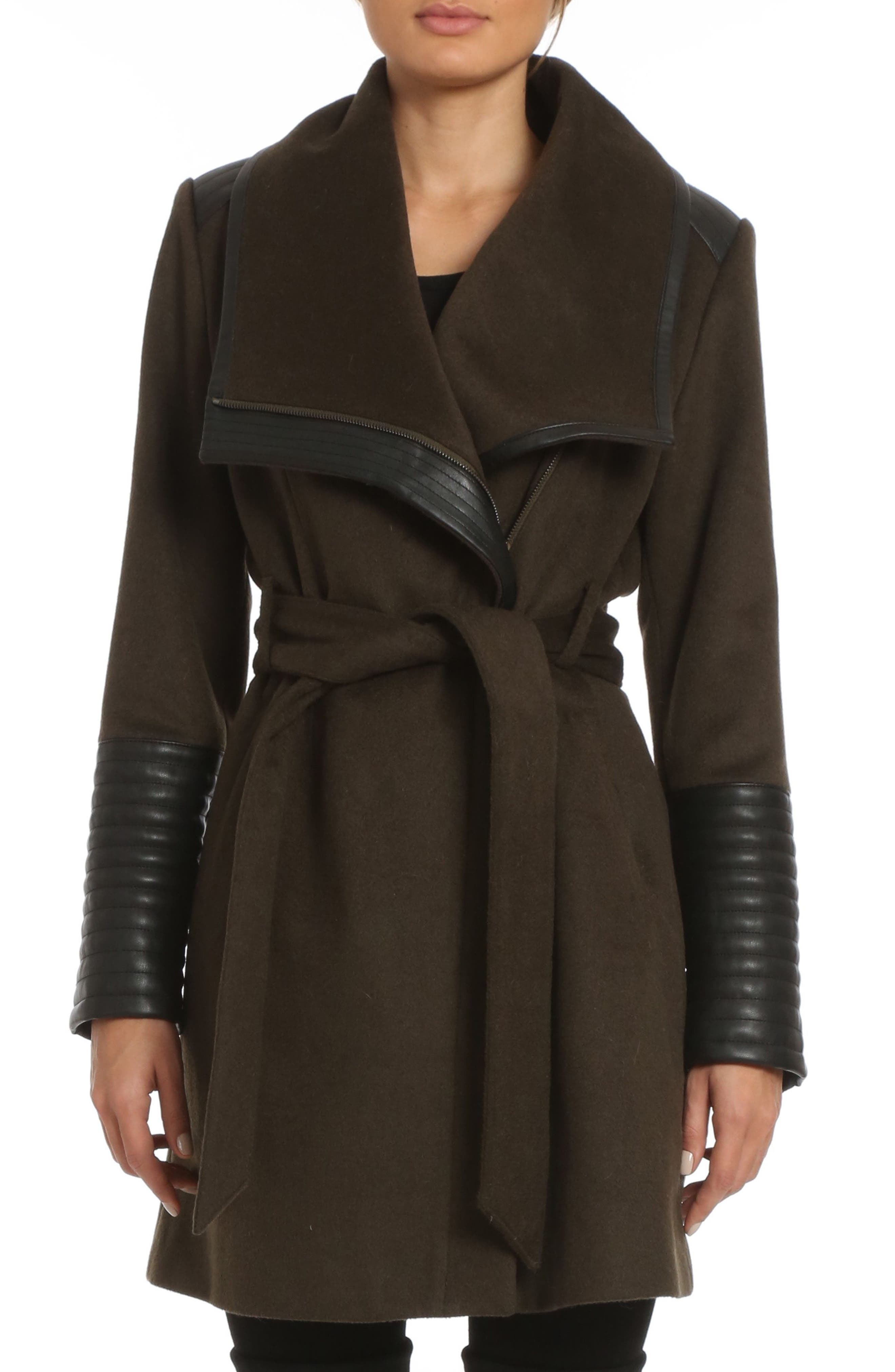 Alternate Image 1 Selected - Belle BadgleyMischka 'Lorian' FauxLeather Trim BeltedAsymmetrical Wool Blend Coat