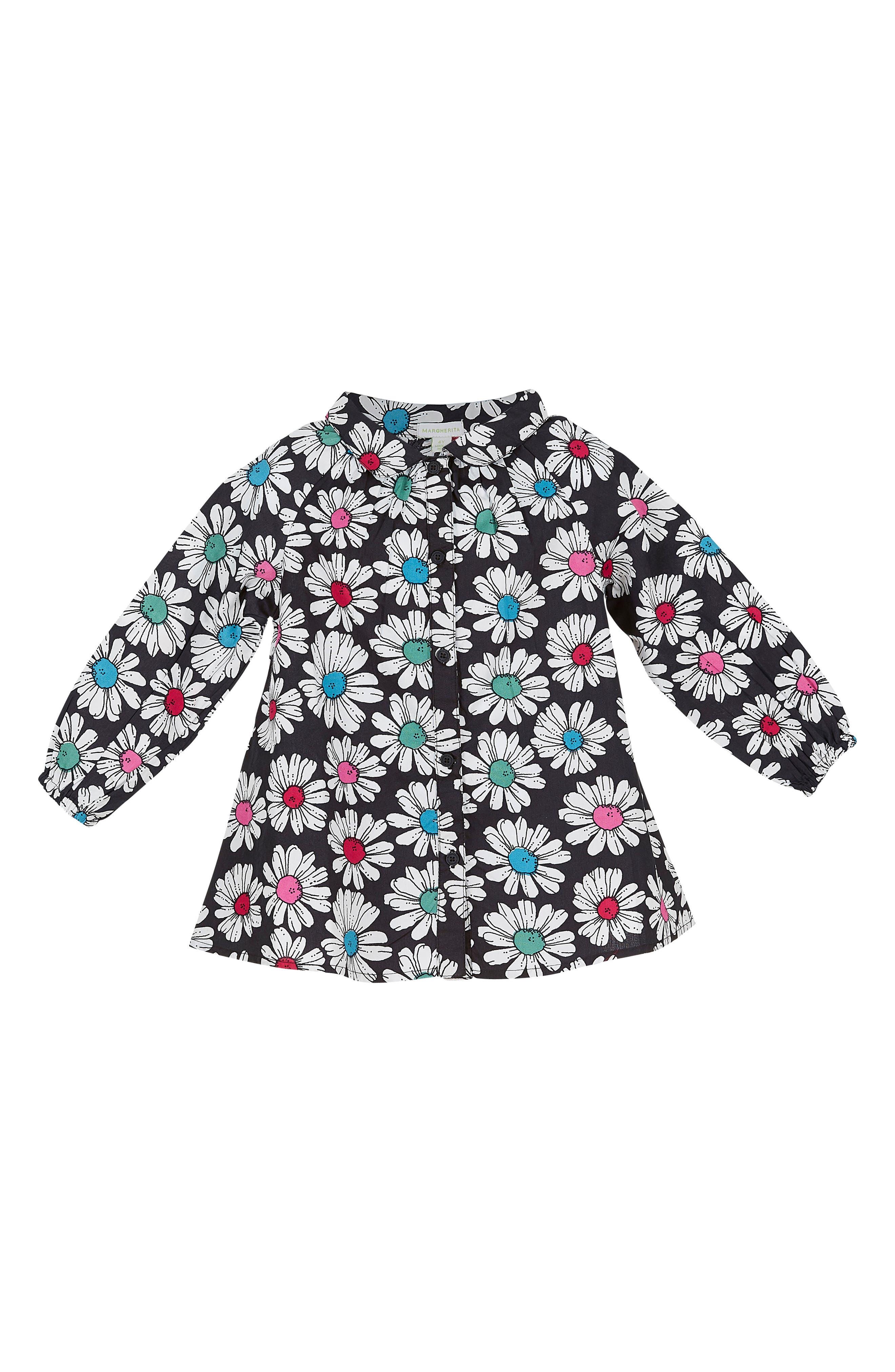 Margherita Floral Print Pleated Shirt (Toddler Girls & Little Girls)