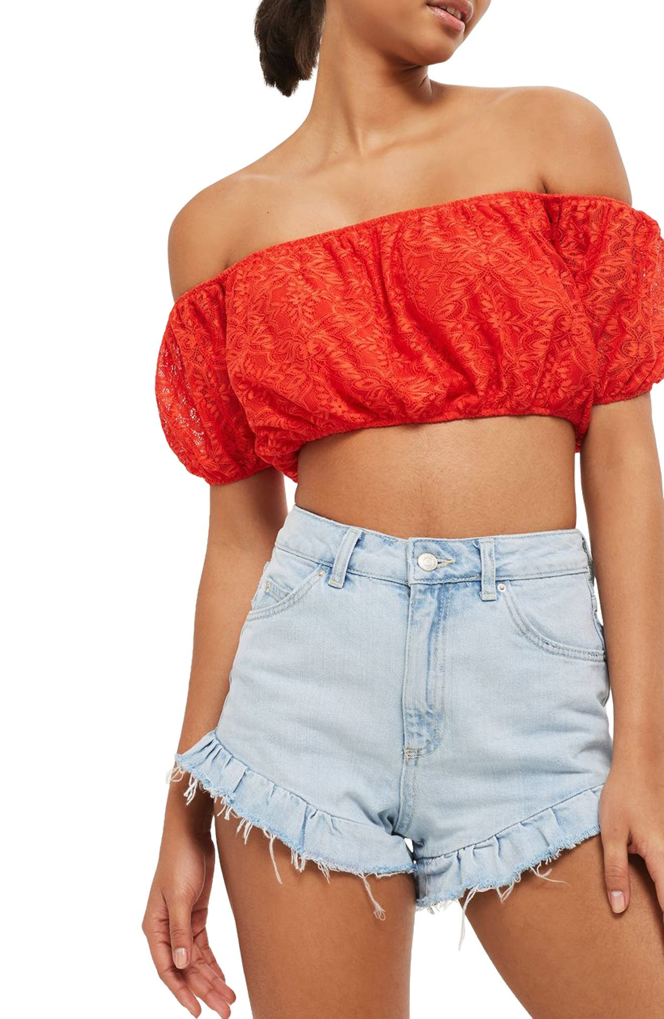 Topshop Lace Off the Shoulder Crop Top