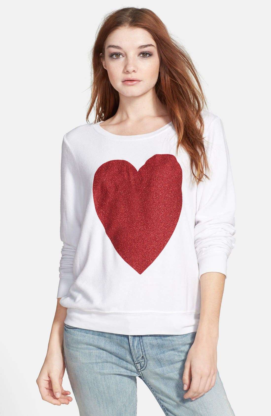 Main Image - Wildfox 'Sparkle Heart' Sweatshirt