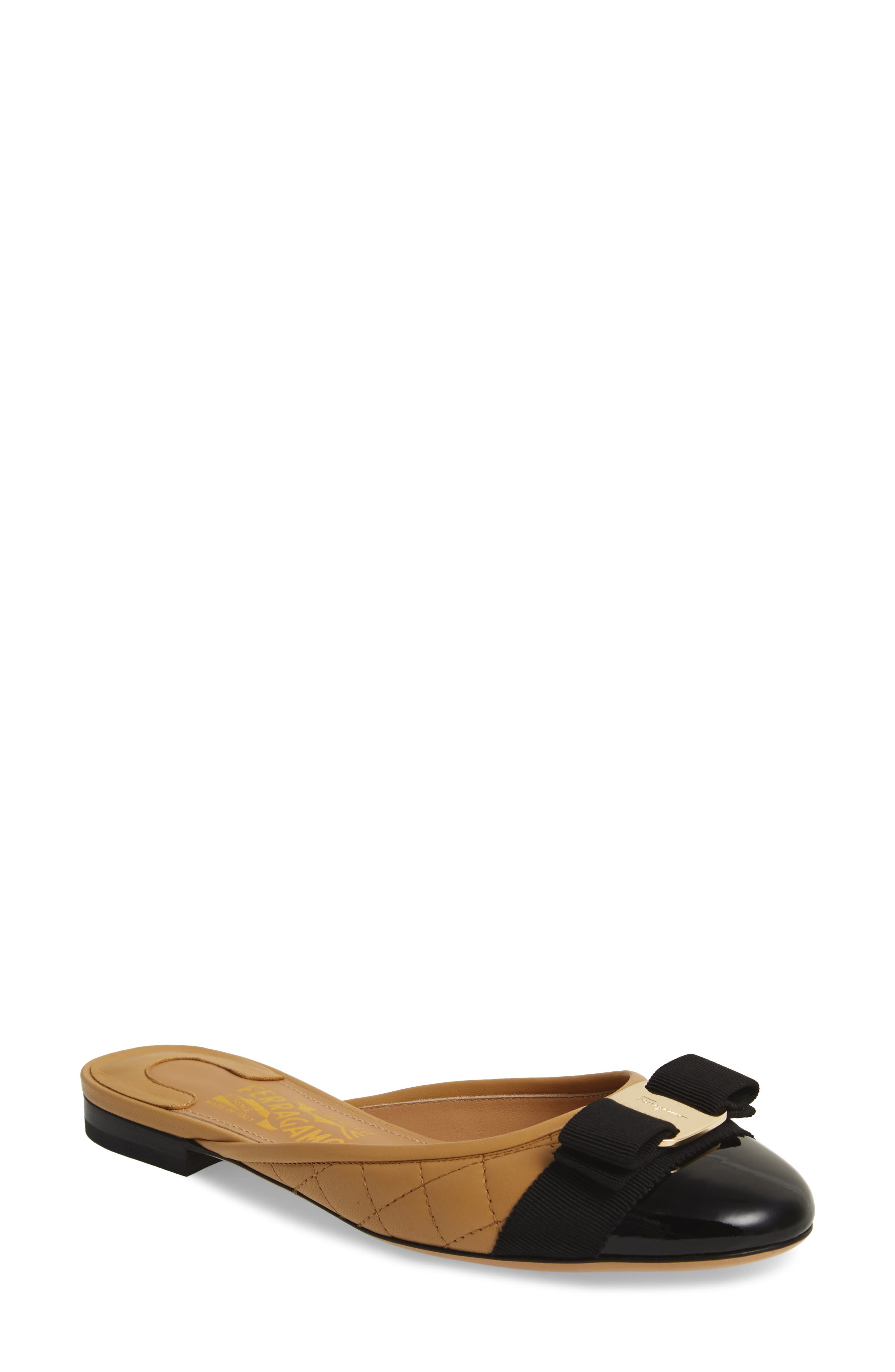 Salvatore Ferragamo Round Toe Bow Mule (Women)