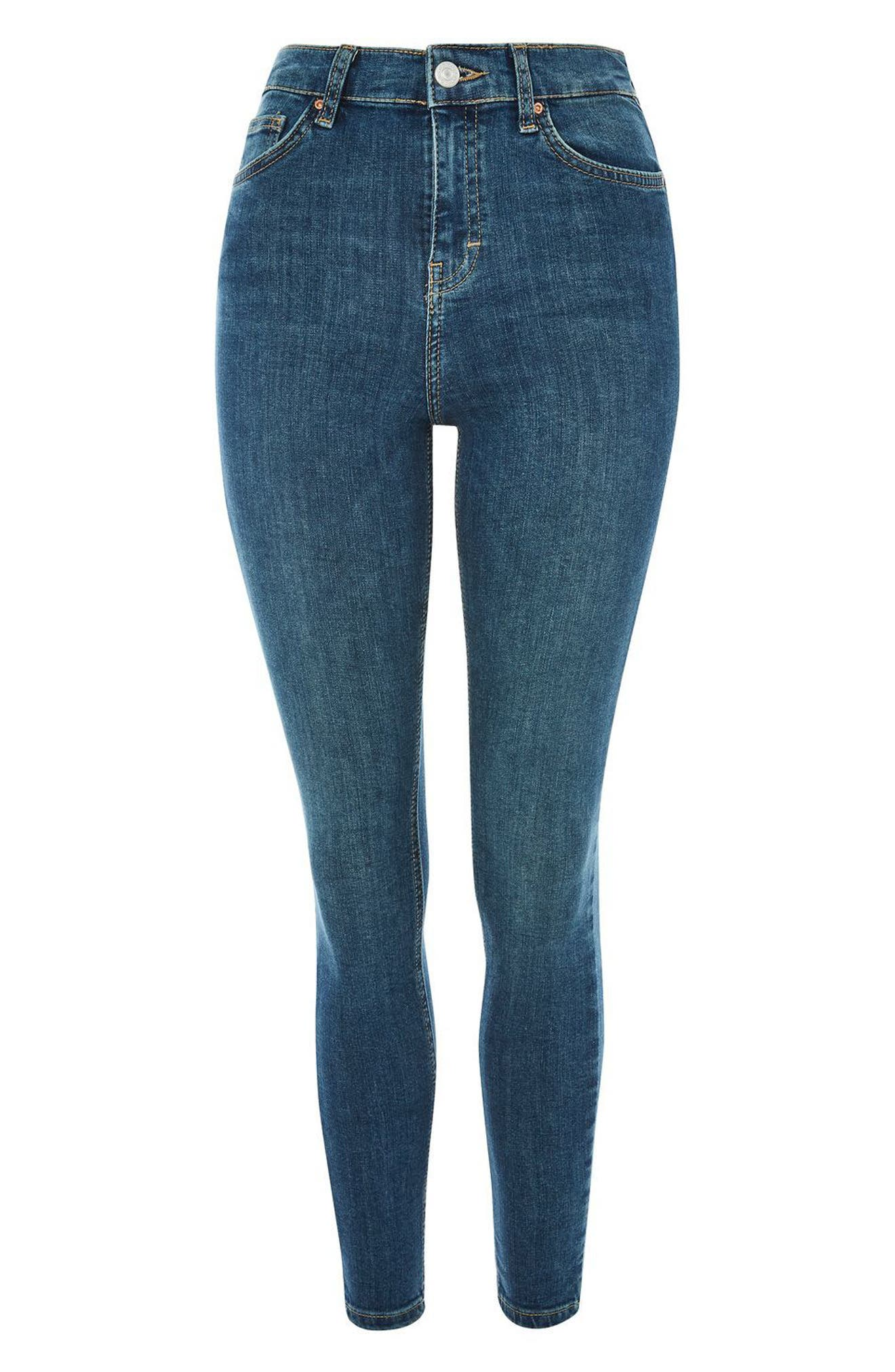 Alternate Image 4  - Topshop Jamie High Waist Crop Skinny Jeans (Blue Green)