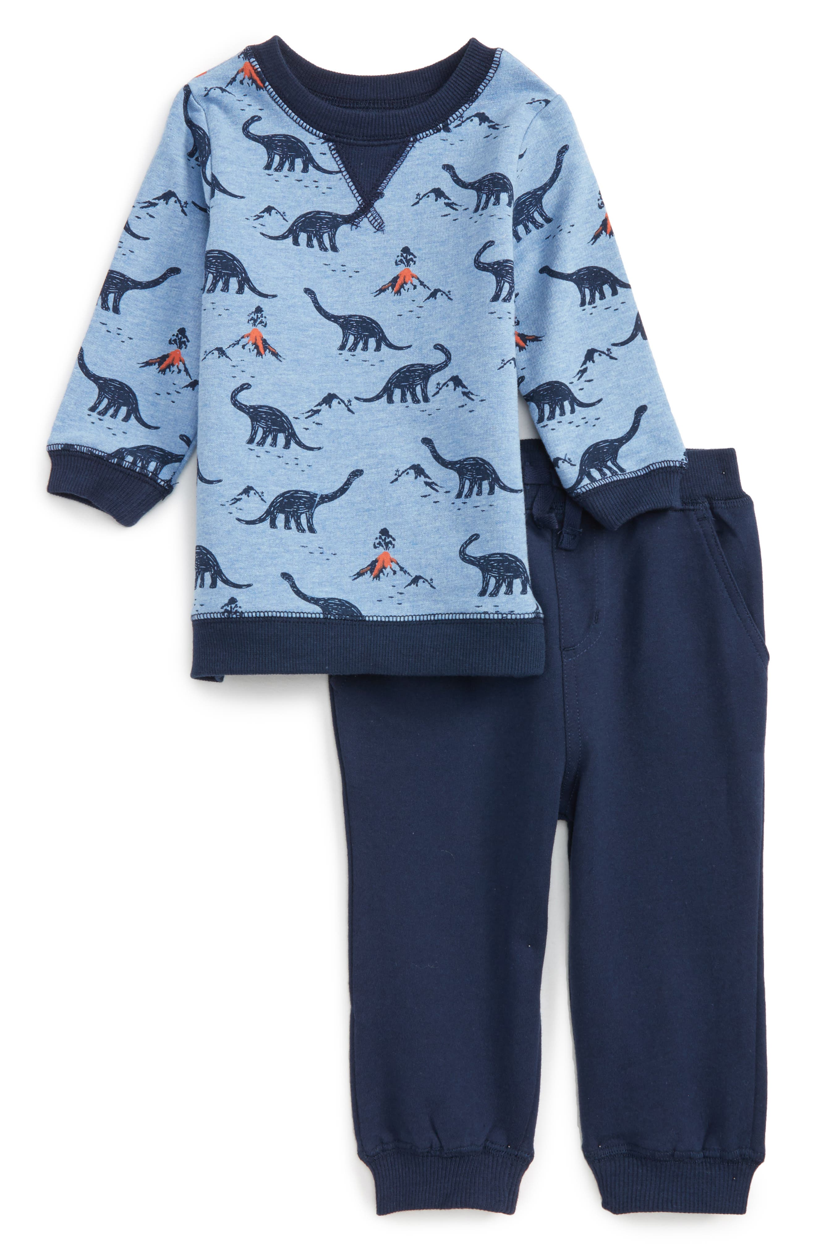 Little Me Dinosaur Print Sweatshirt & Jogger Pants Set (Baby Boys)
