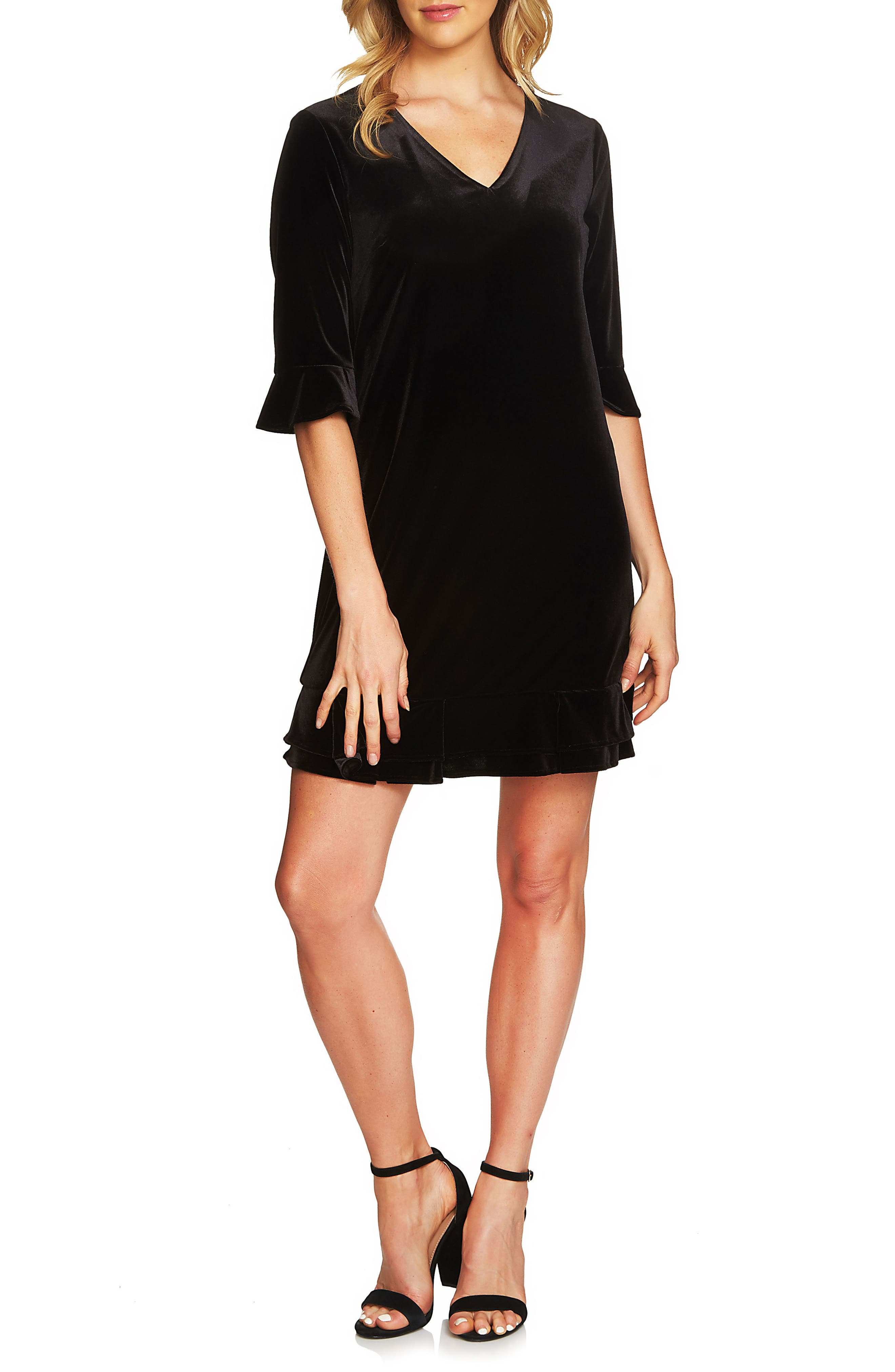Cece Kate Ruffle Velvet Shift Dress