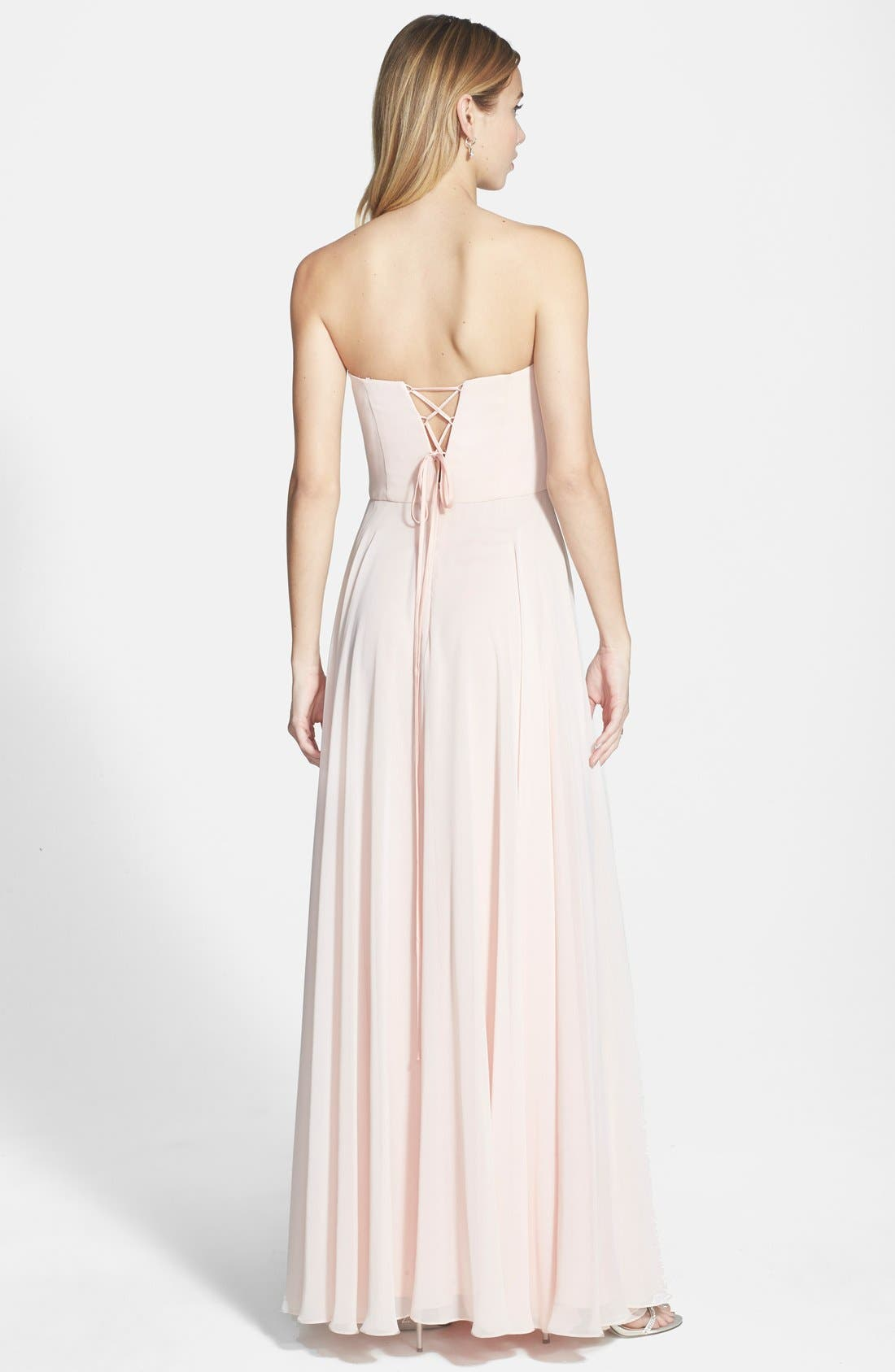 Alternate Image 2  - Xscape Lace-Up Back Embellished Bustier Chiffon Gown