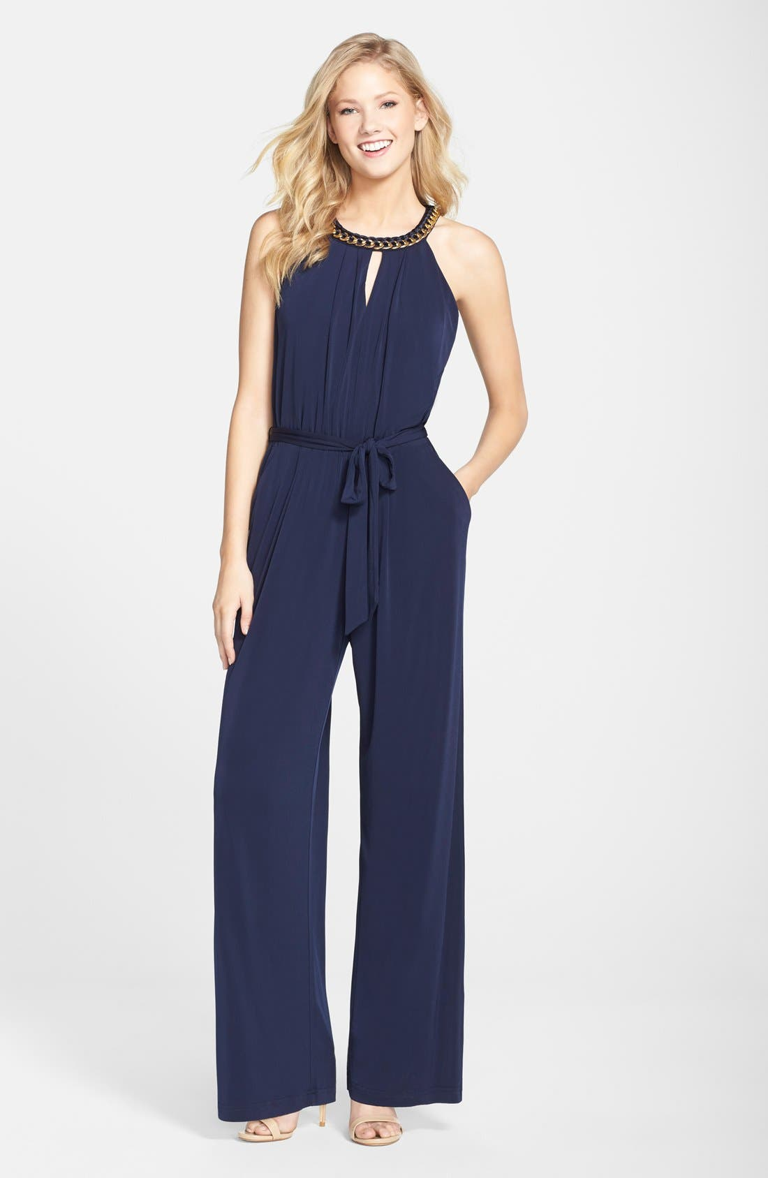 Alternate Image 1  - Vince Camuto Hardware Detail Jersey Jumpsuit