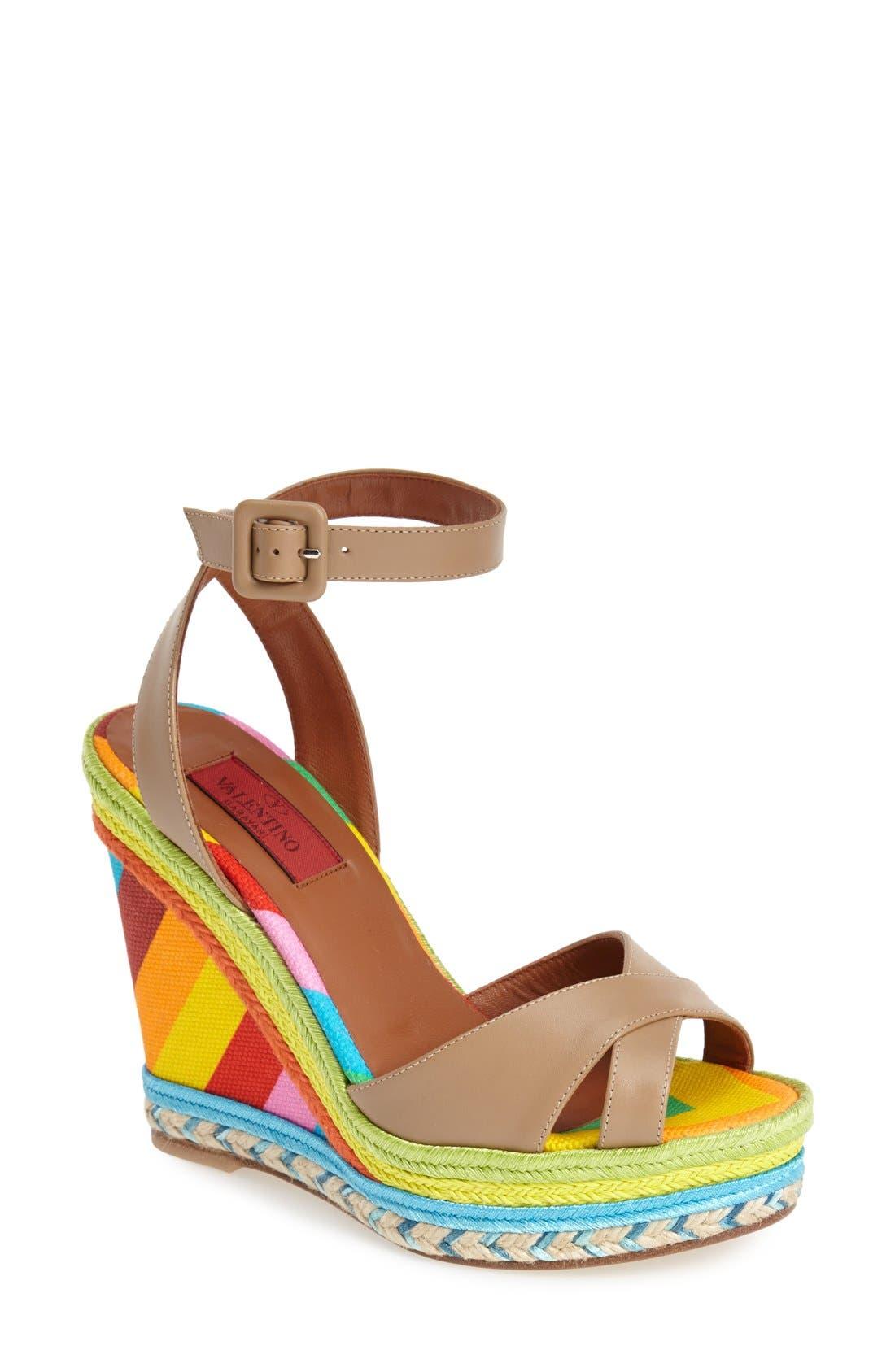 Alternate Image 1 Selected - Valentino Espadrille Wedge Sandal (Women)
