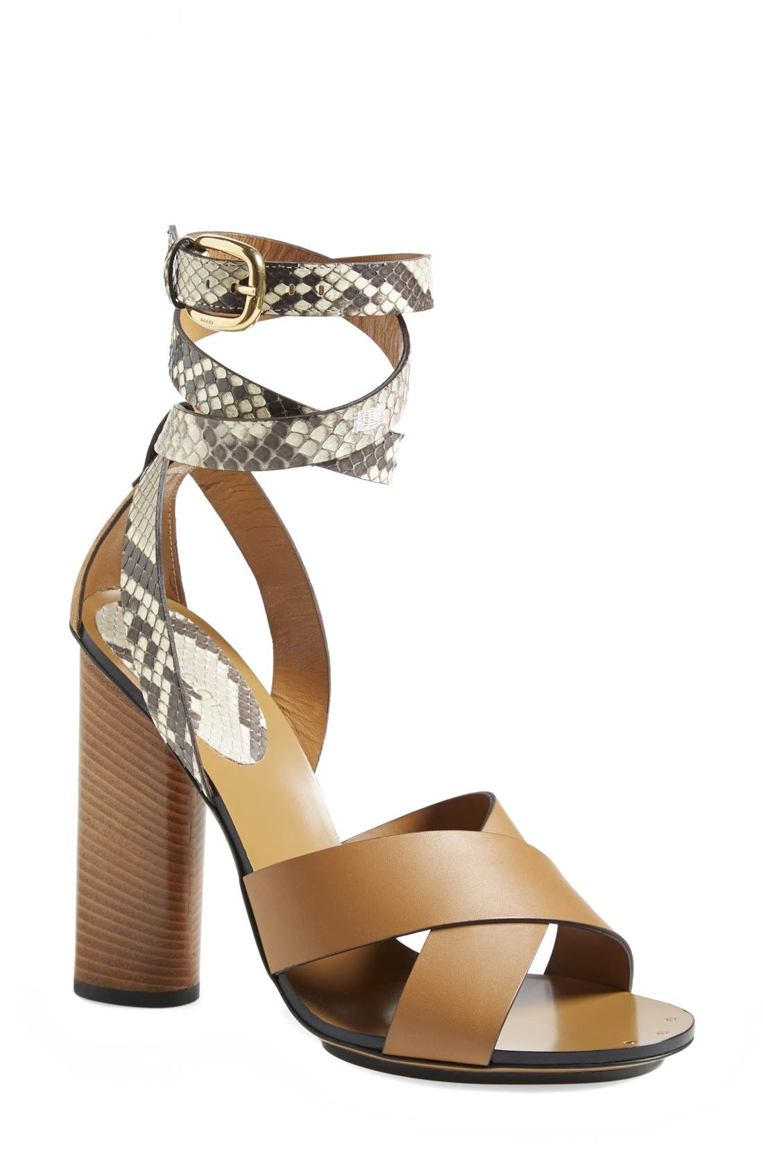 Main Image - Gucci 'Candy' Genuine Python & Leather Sandal (Women)