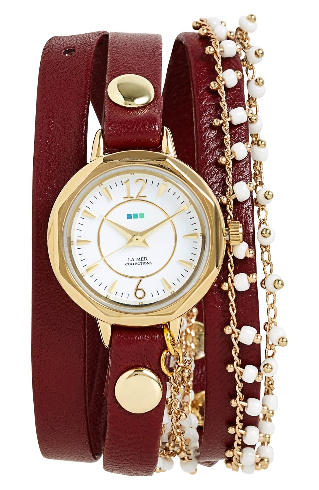 Main Image - La Mer Collections Beaded Chain & Leather Wrap Watch, 19mm