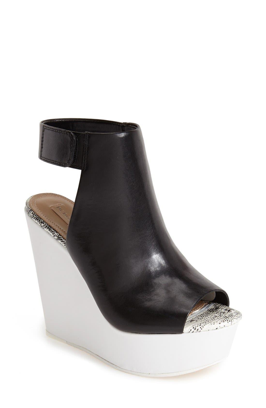 Main Image - BCBGMAXAZRIA 'Ma-Cue' Peep Toe Leather Wedge Sandal (Women)