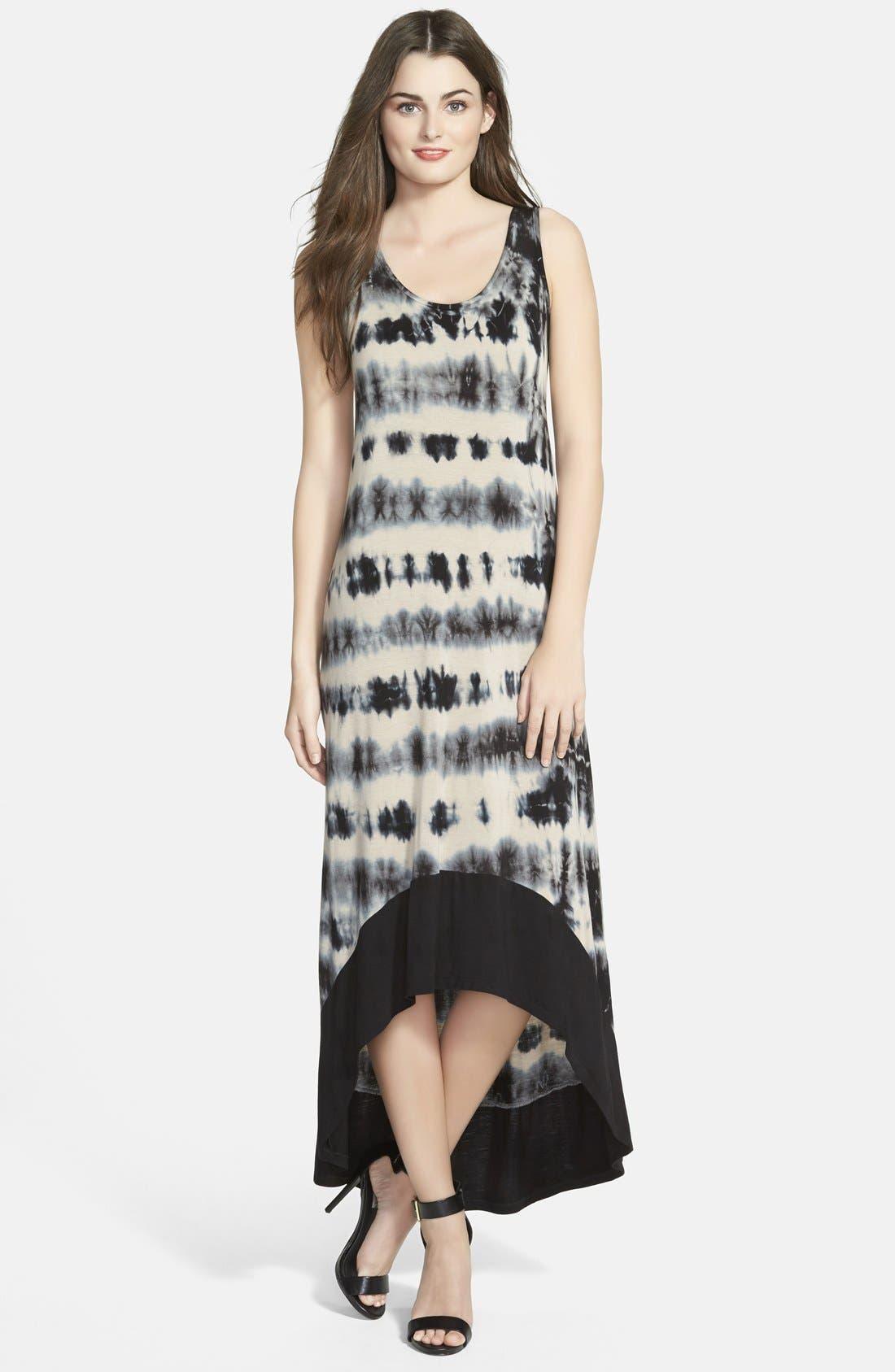 Main Image - kensie Tie Dye High-Low Maxi Dress