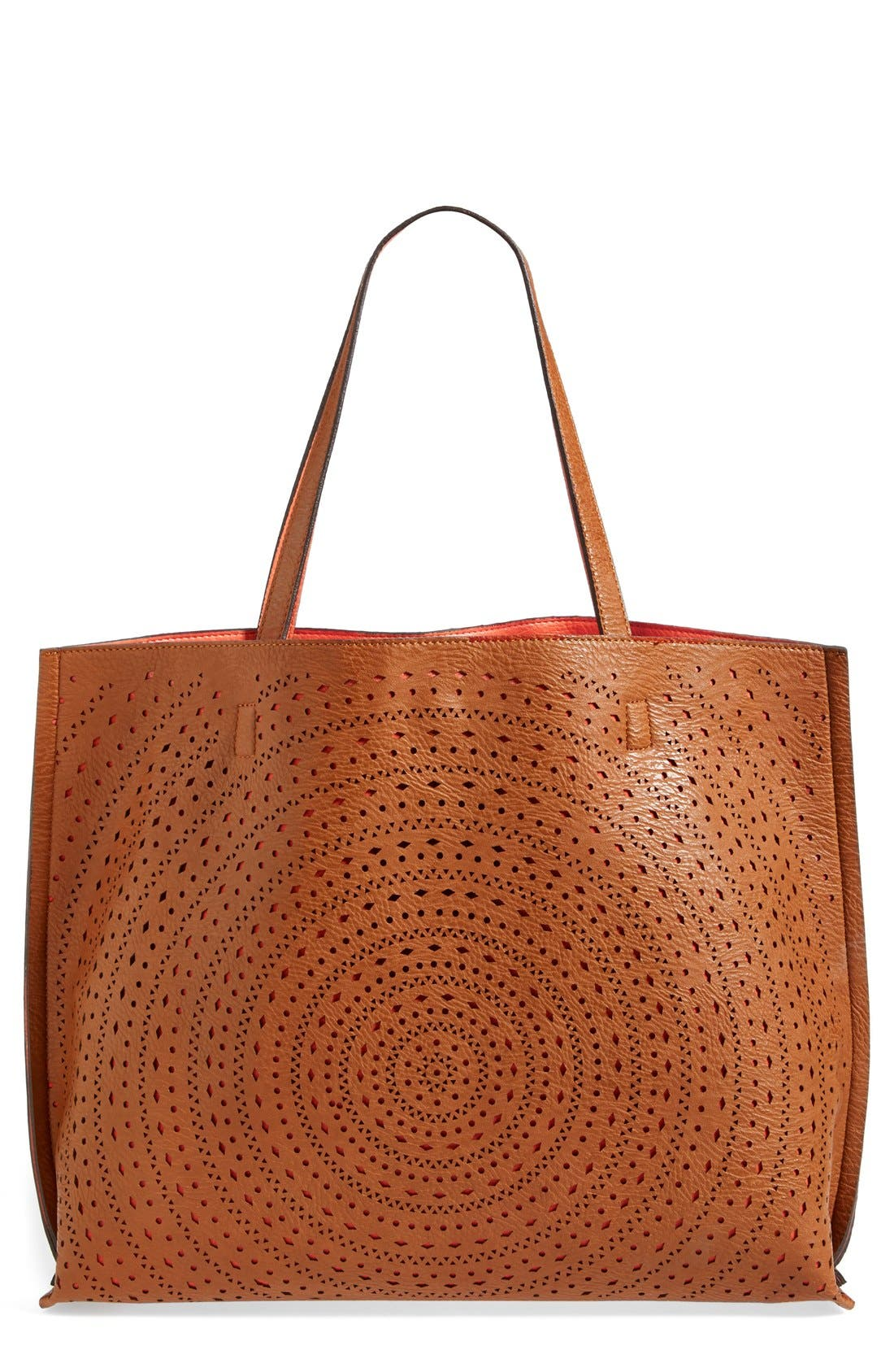 Alternate Image 1 Selected - Street Level Laser Cut Reversible Faux Leather Tote