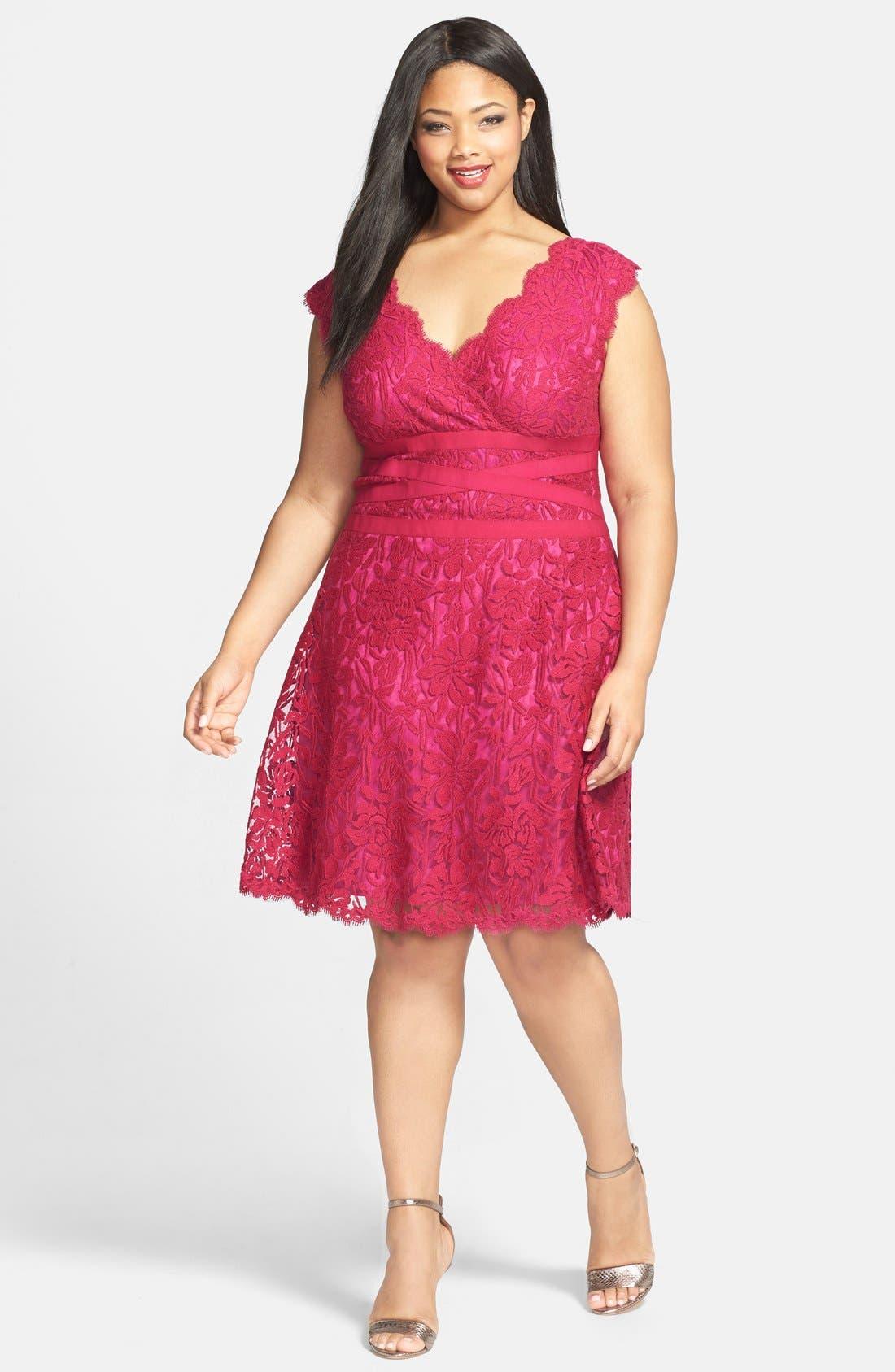 Alternate Image 3  - Tadashi Shoji Embroidered Lace Fit & Flare Dress (Plus Size)
