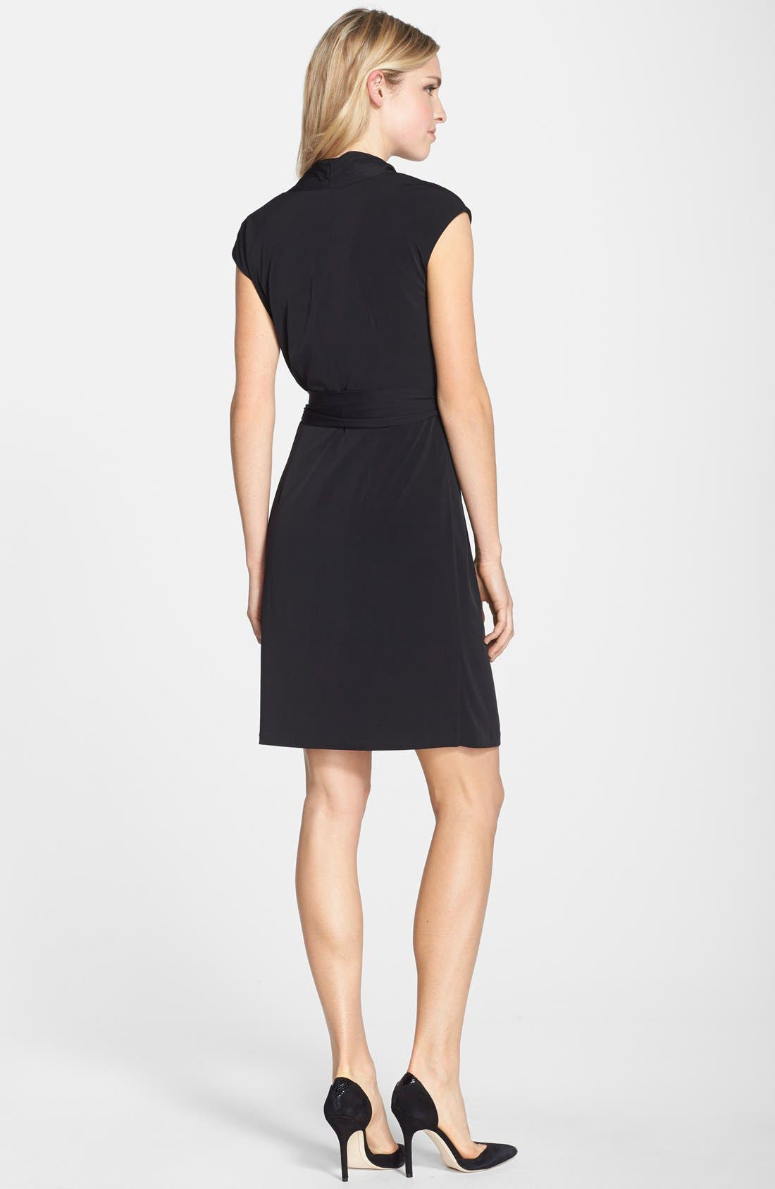 Alternate Image 2  - Eliza J Cap Sleeve Faux Wrap Jersey Dress (Online Only)