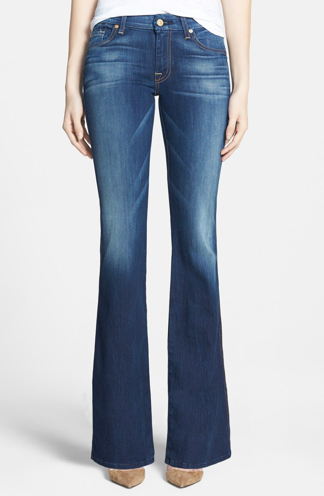 Alternate Image 1 Selected - 7 For All Mankind® 'Lexie' Bootcut Stretch Jeans (Aggressive Siren) (Petite)