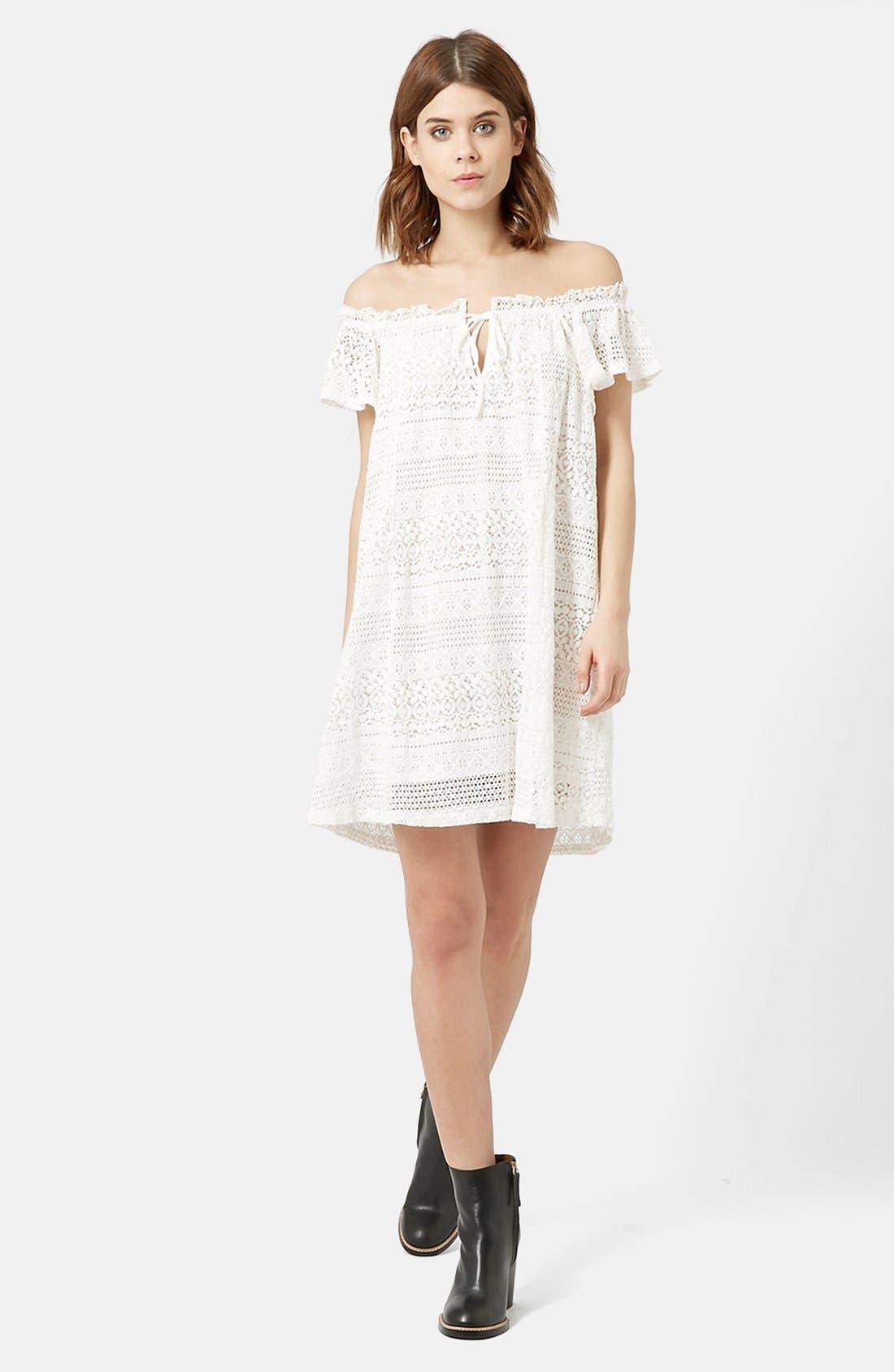 Alternate Image 2  - Topshop Lace Off the Shoulder Dress