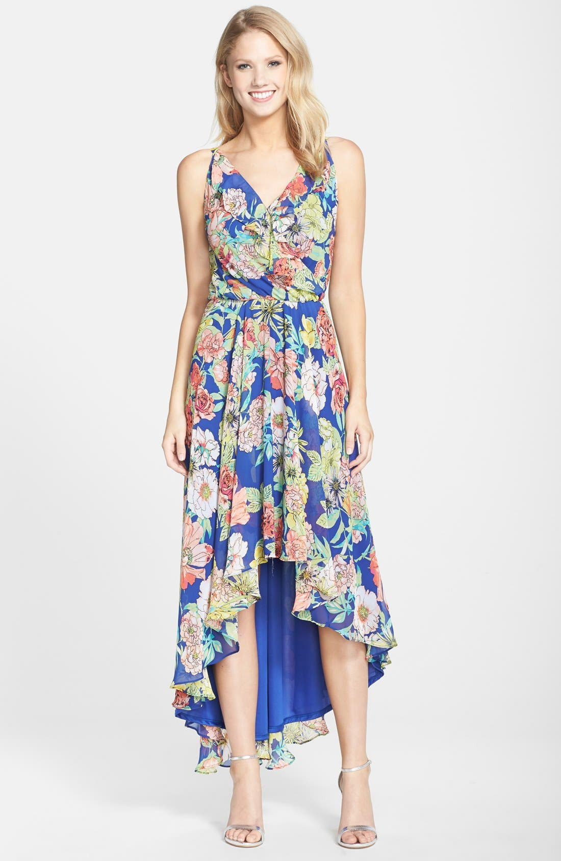 Alternate Image 1  - KUT from the Kloth Floral Print Chiffon High/Low Dress