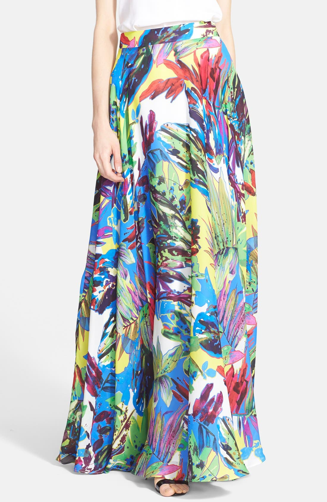 Main Image - Milly Floral Print Silk Maxi Skirt