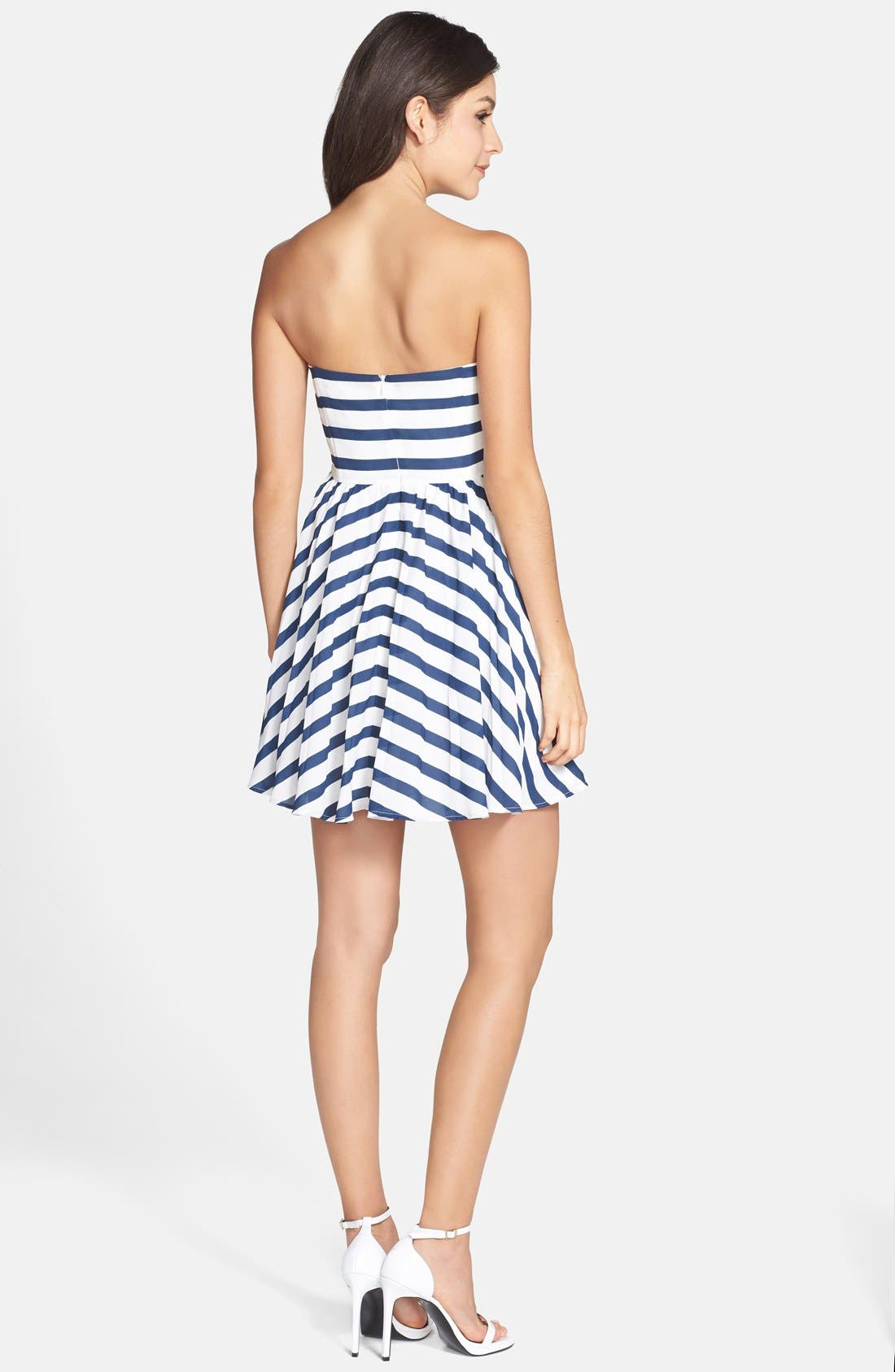 Alternate Image 2  - BB Dakota 'Aleta' Stripe Strapless Fit & Flare Dress