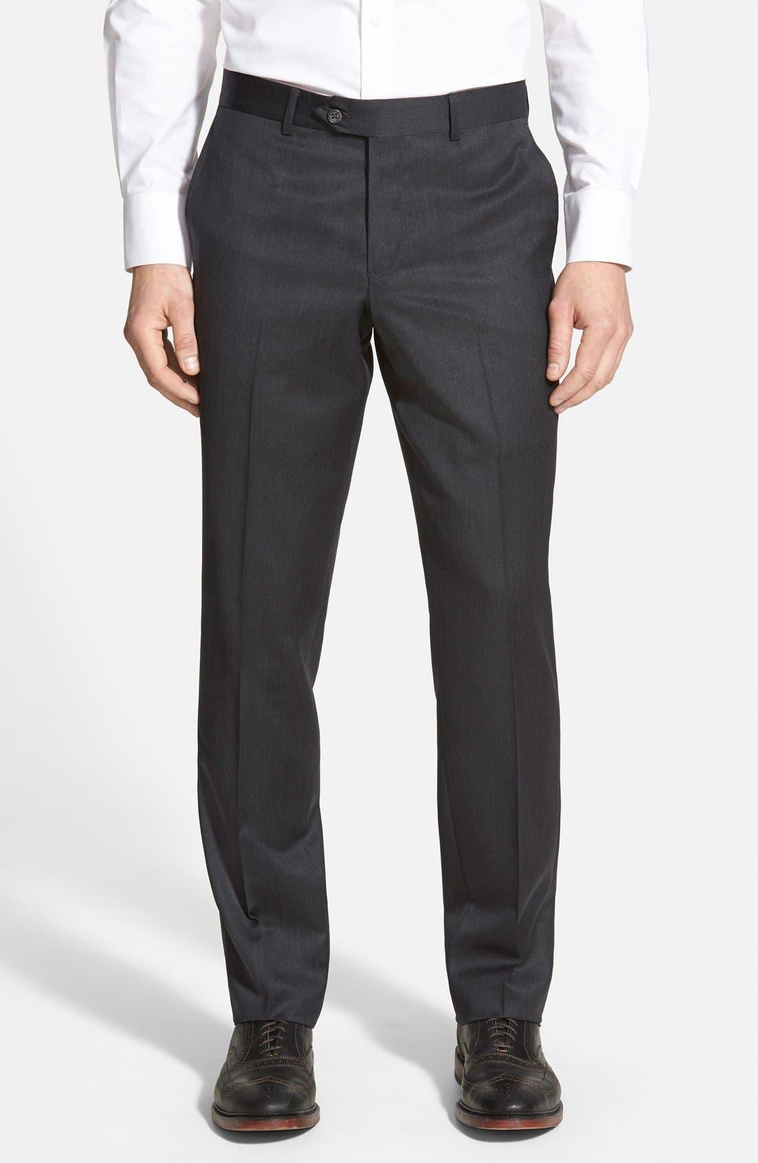 Nordstrom Men's Shop Flat Front Wool Trousers