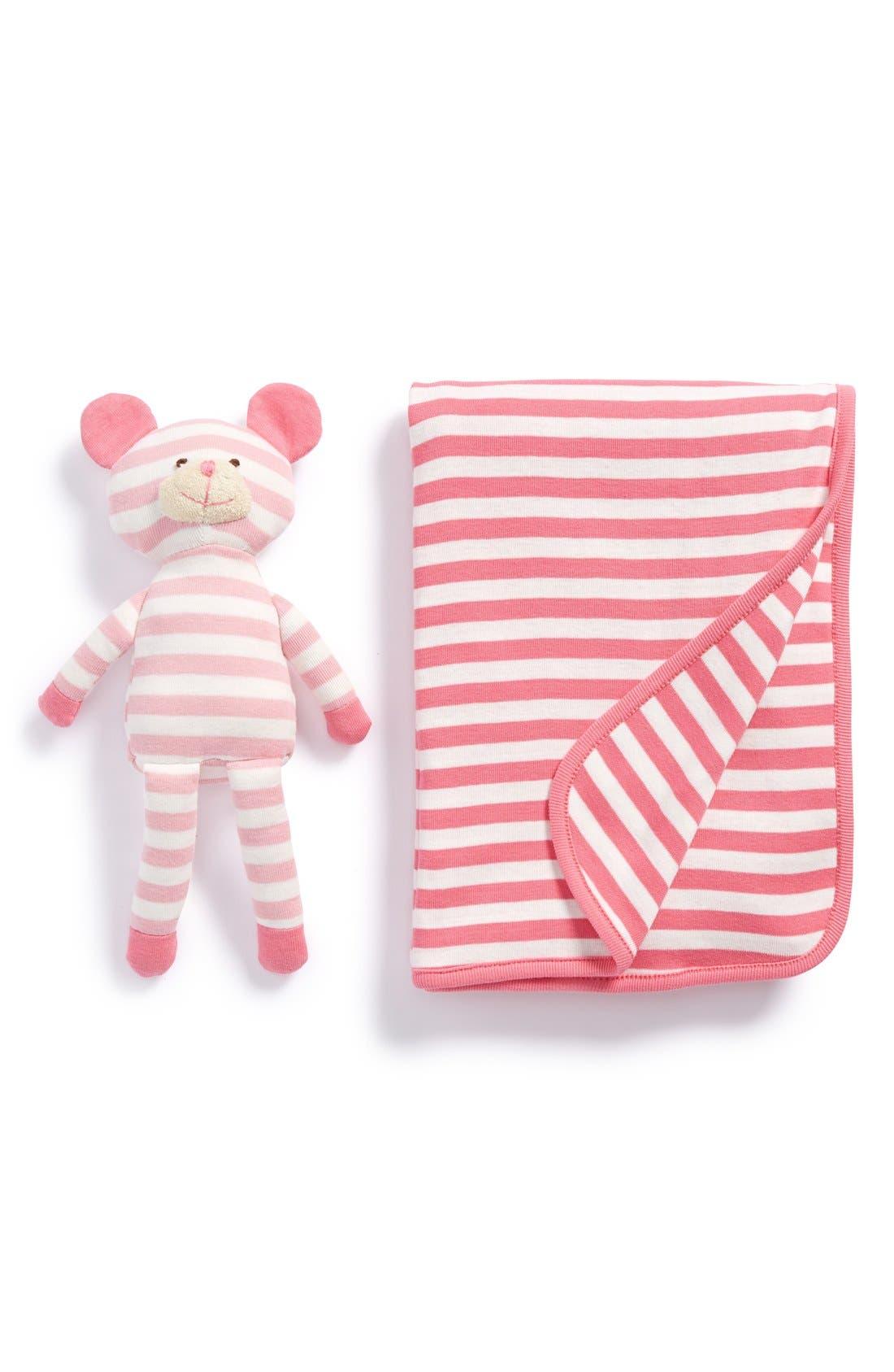 Main Image - giggle Stripe Organic Cotton Blanket & Plush Bear (Baby)