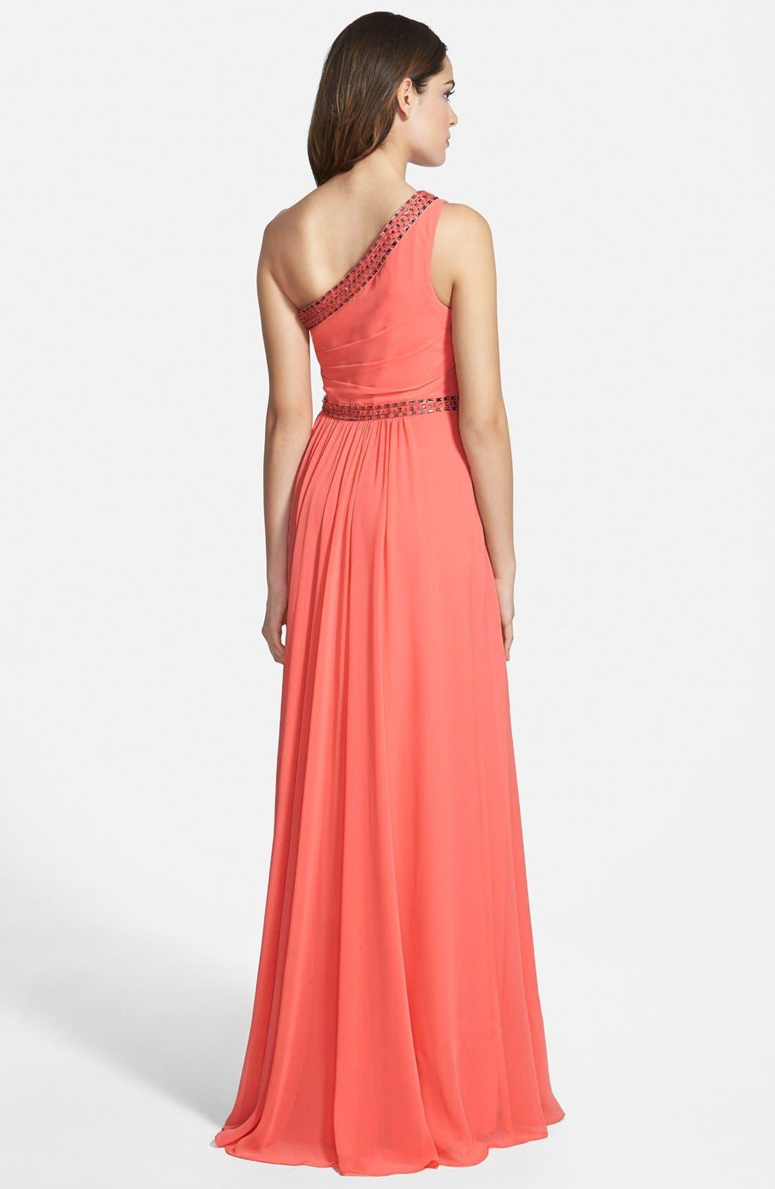 Alternate Image 2  - BCBGMAXAZRIA 'Daniele' Embellished One-Shoulder Georgette Gown