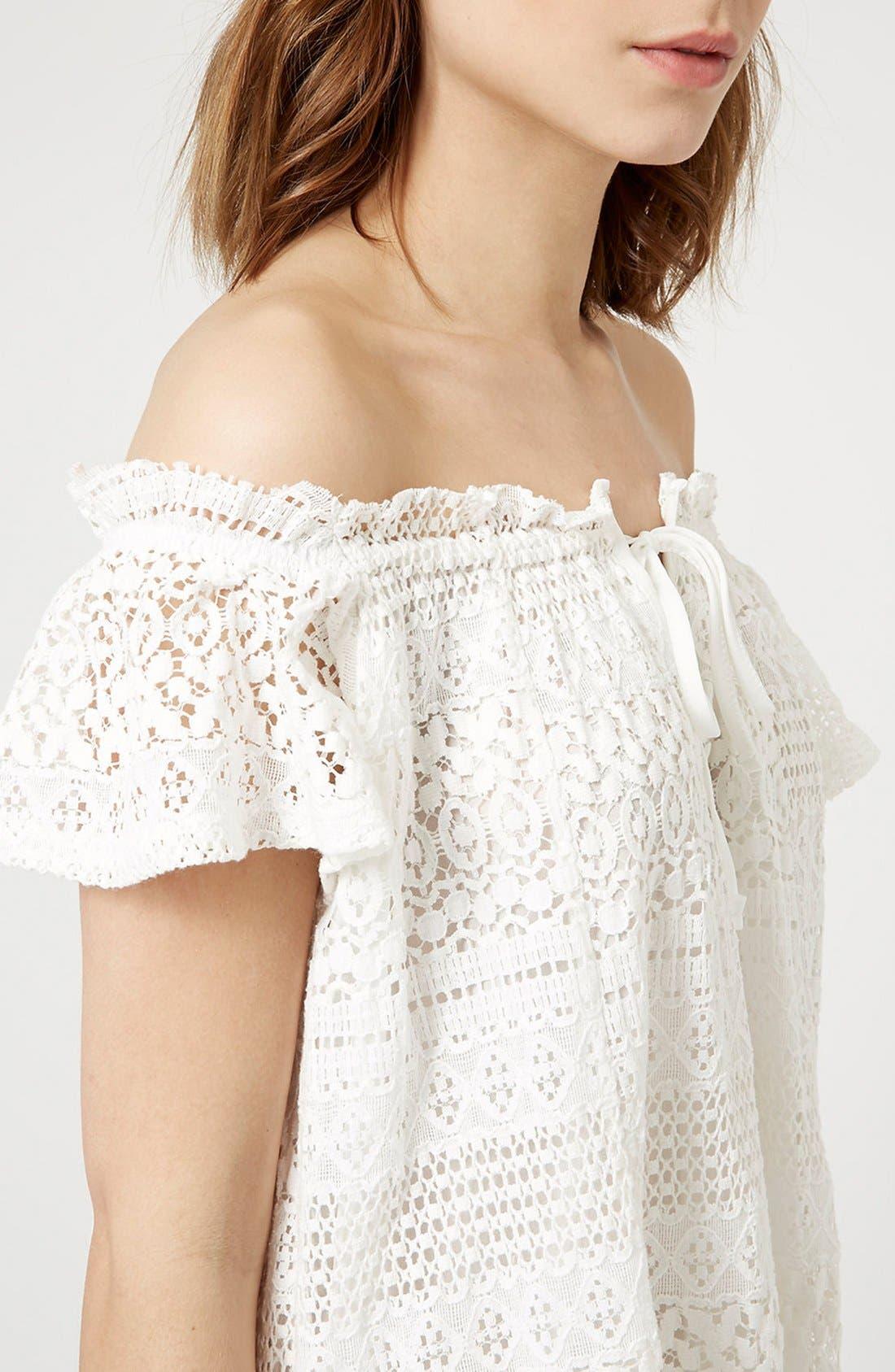 Alternate Image 4  - Topshop Lace Off the Shoulder Dress