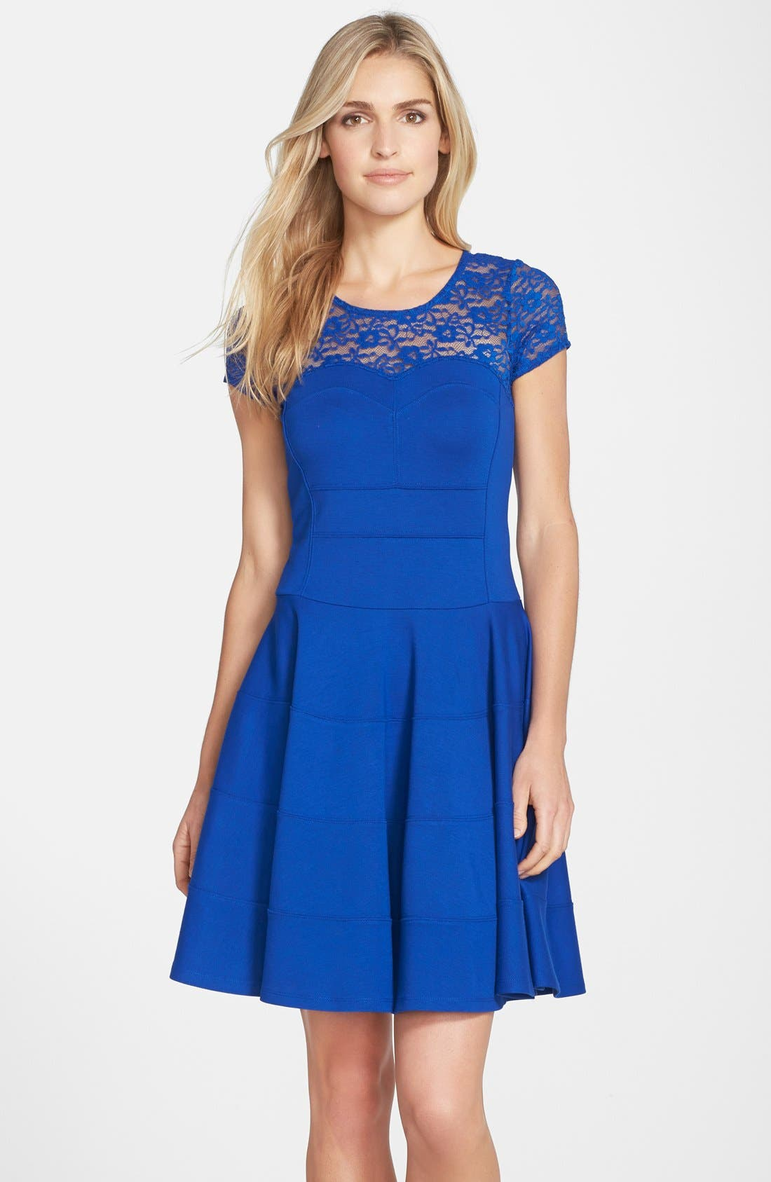 Alternate Image 3  - Felicity & Coco Lace Yoke Fit & Flare Ponte Dress (Nordstrom Exclusive)