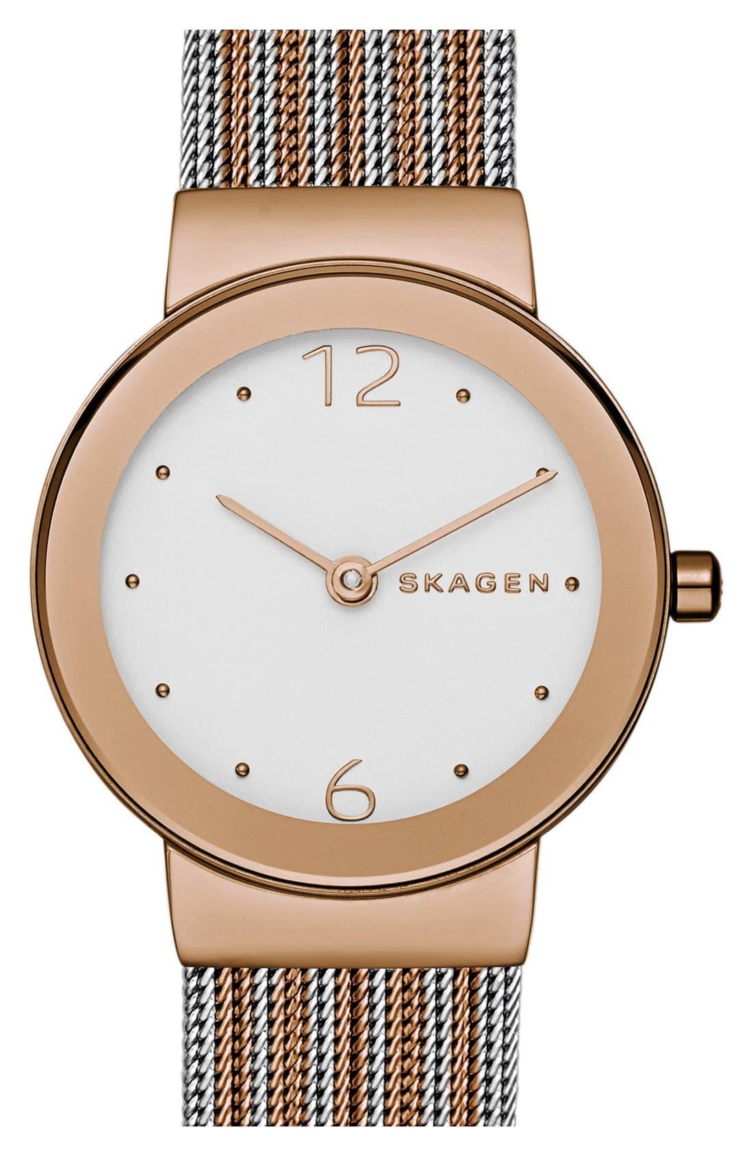 Main Image - Skagen 'Freja' Mesh Strap Watch, 26mm (Nordstrom Online Exclusive)