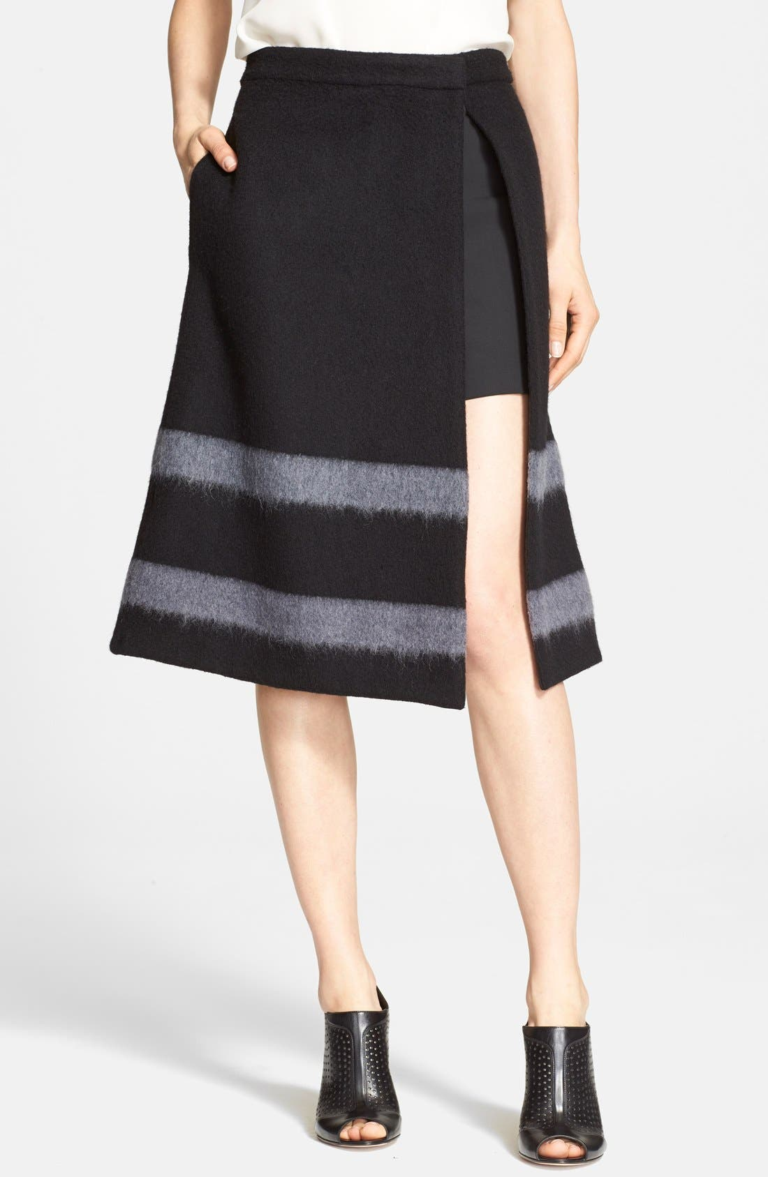 Main Image - Tibi Stripe Felted Wool Blend A-Line Skirt