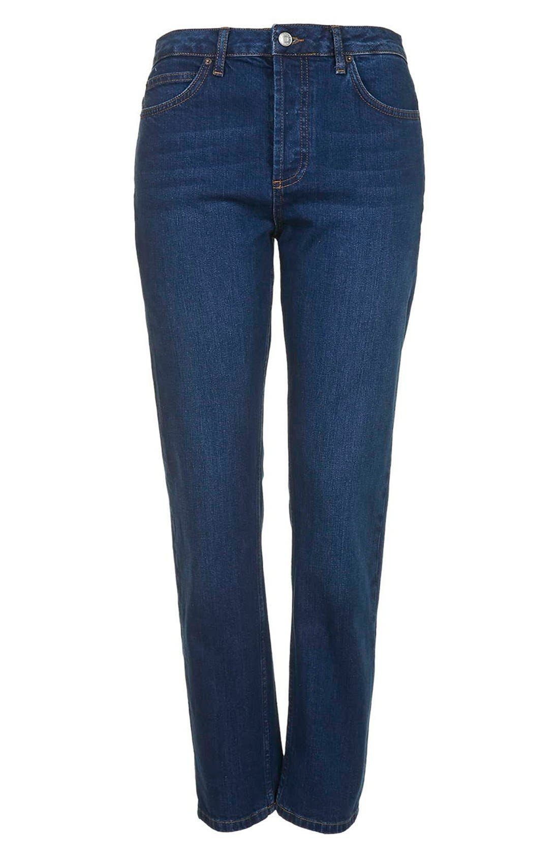 Alternate Image 3  - Topshop Moto Indigo Girlfriend Jeans (Navy Blue)
