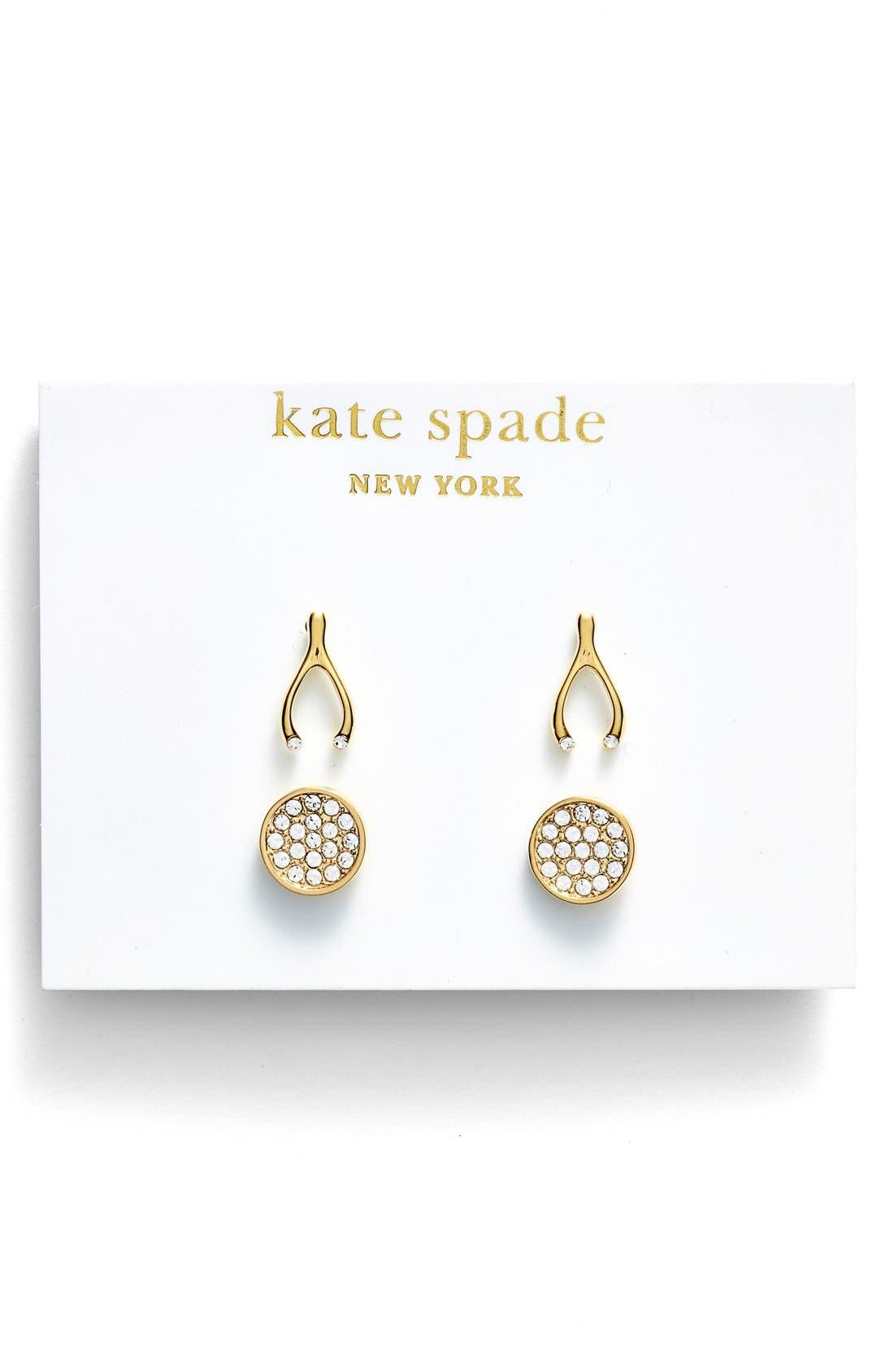 Alternate Image 3  - kate spade new york 'north court' wishbone & disc stud earrings (Set of 2)