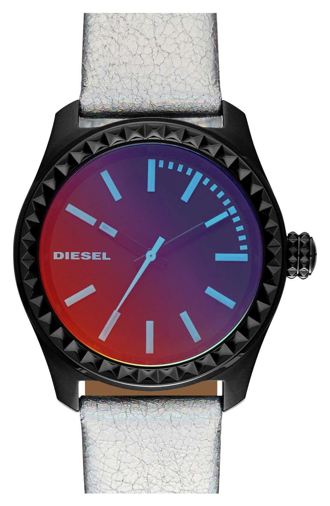 Main Image - DIESEL® 'Kray Kray' Iridescent Crystal Leather Strap Watch, 38mm