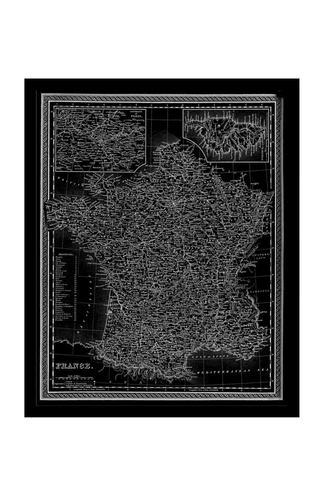 Alternate Image 1 Selected - Oliver Gal 'France Map 1849' Framed Art Print