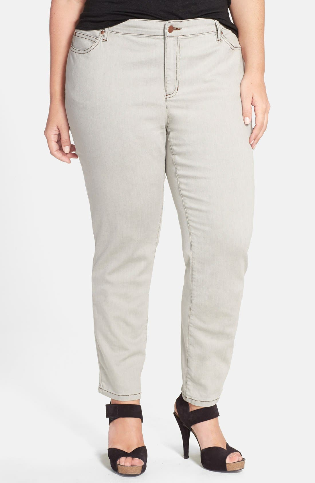 Alternate Image 1 Selected - Eileen Fisher Slim Ankle Jeans (Sunbleached Grey) (Plus Size)