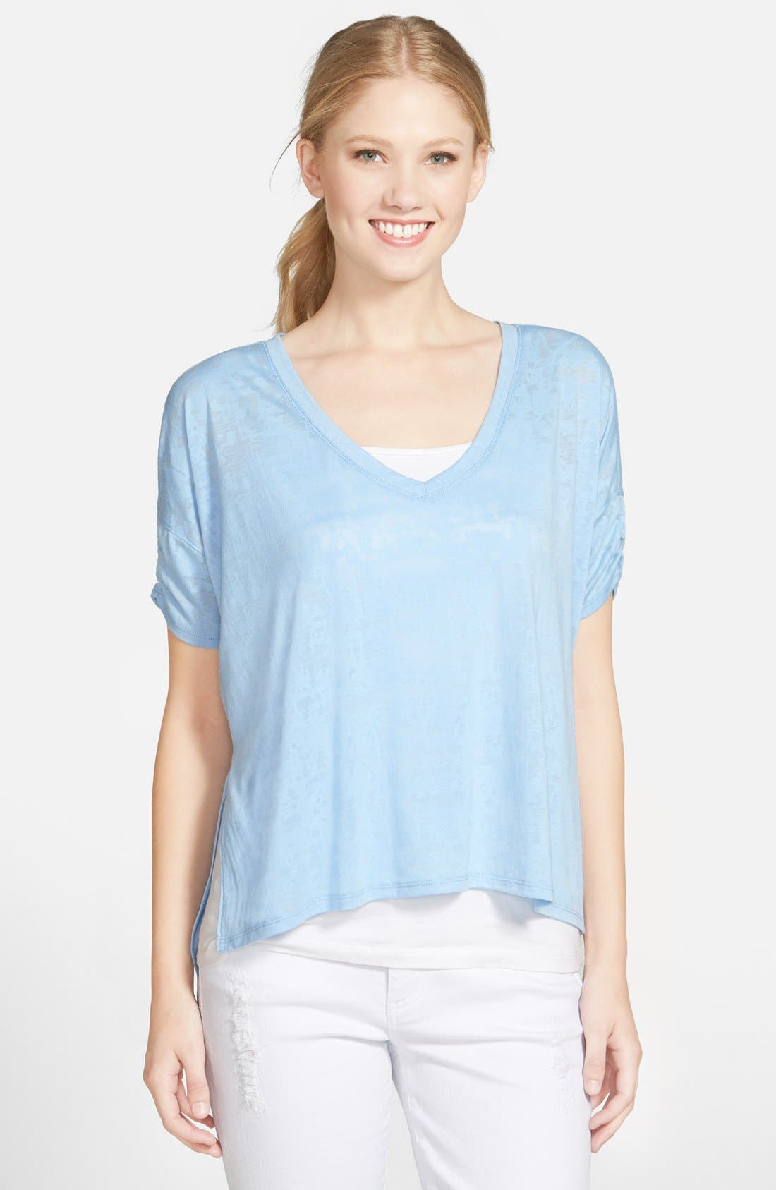 Alternate Image 1 Selected - Two by Vince Camuto Boxy High/Low Burnout Tee