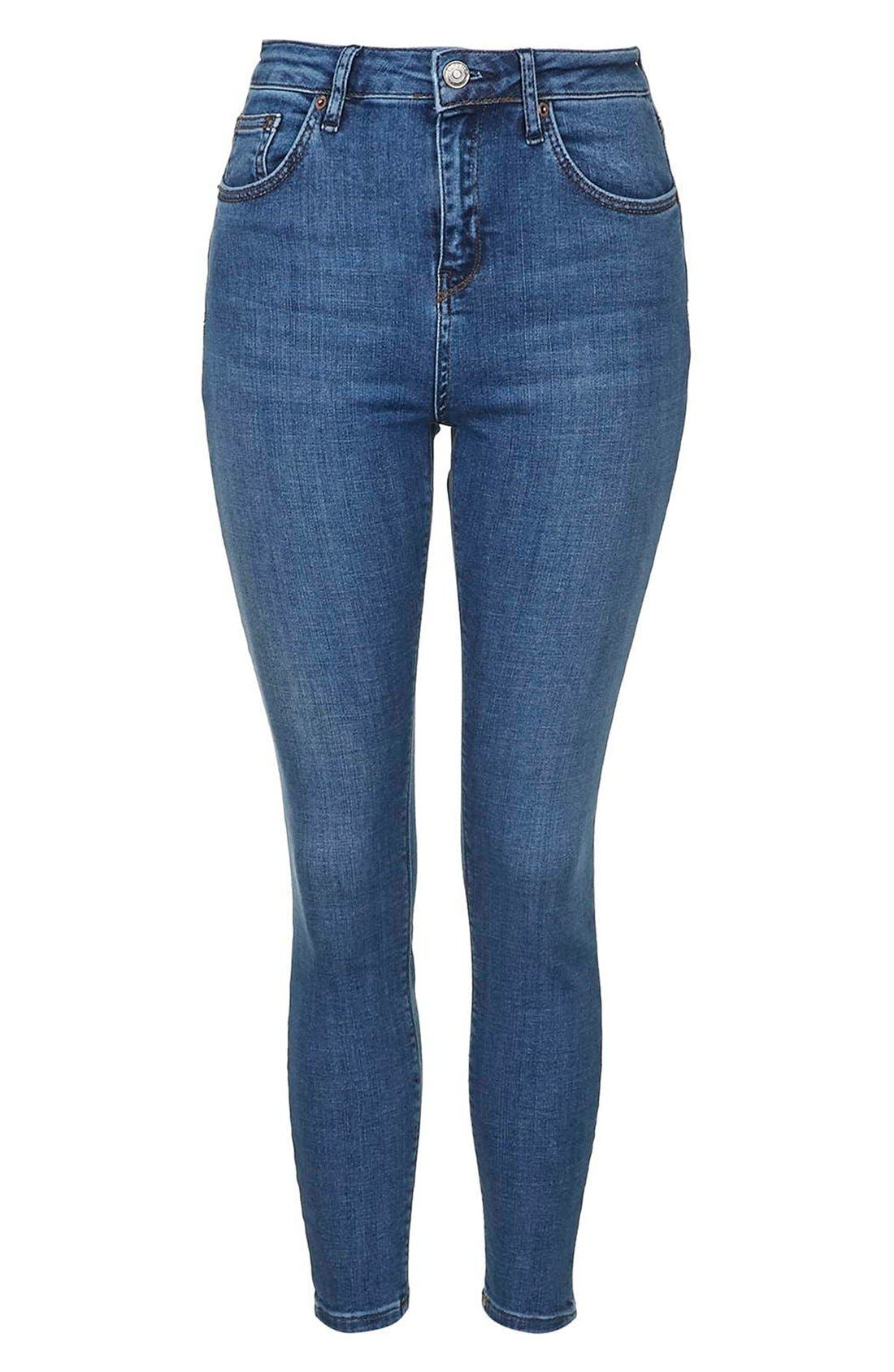 Alternate Image 3  - Topshop Moto 'Cain' High Rise Ankle Jeans (Blue) (Short)