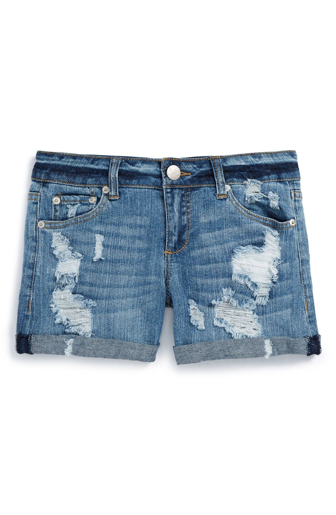 Alternate Image 1 Selected - Vintage Havana Cuff Denim Boyfriend Shorts (Big Girls)