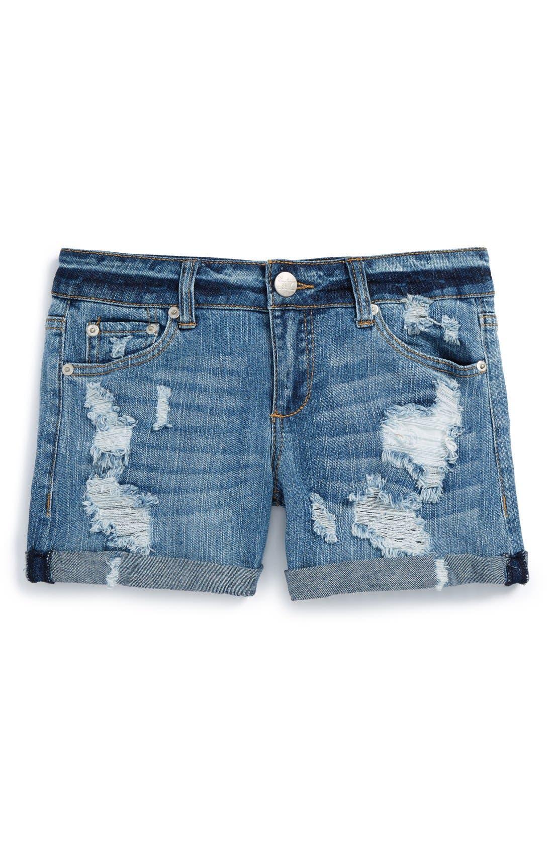 Main Image - Vintage Havana Cuff Denim Boyfriend Shorts (Big Girls)