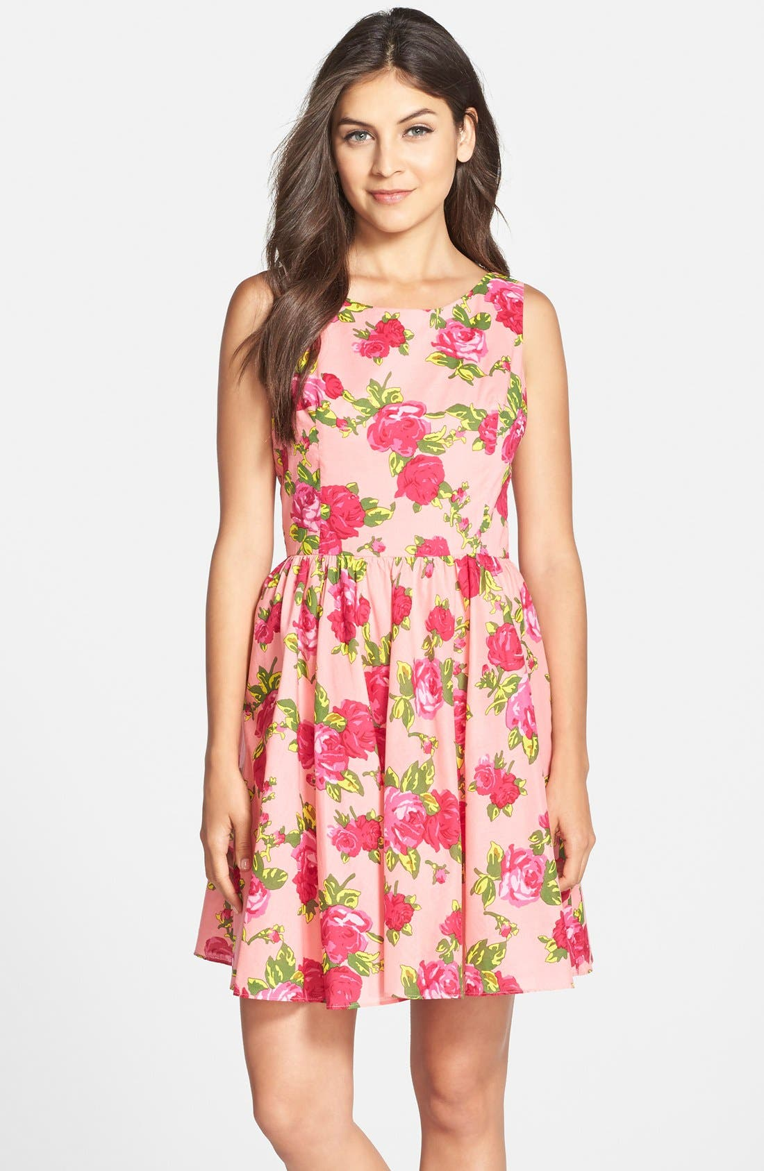 Alternate Image 1 Selected - Betsey Johnson Floral Print Cotton Fit & Flare Dress
