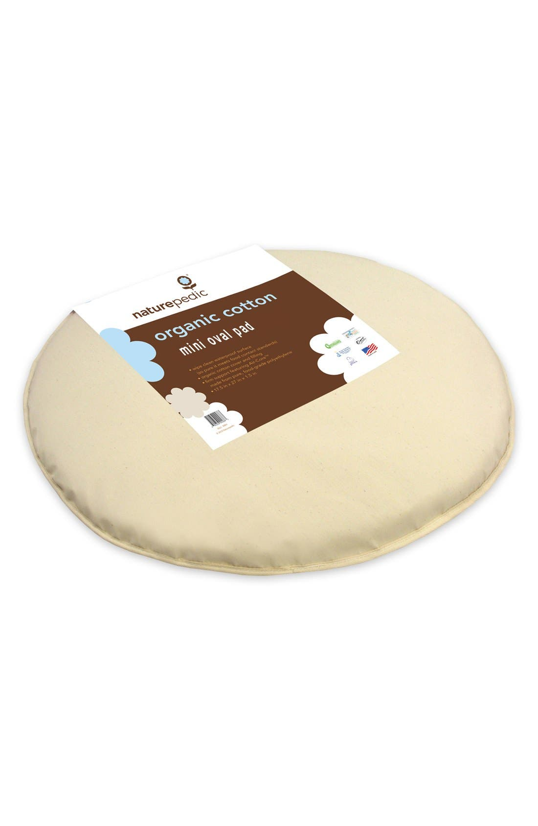 NATUREPEDIC Organic Cotton Oval Mini Mattress Pad for