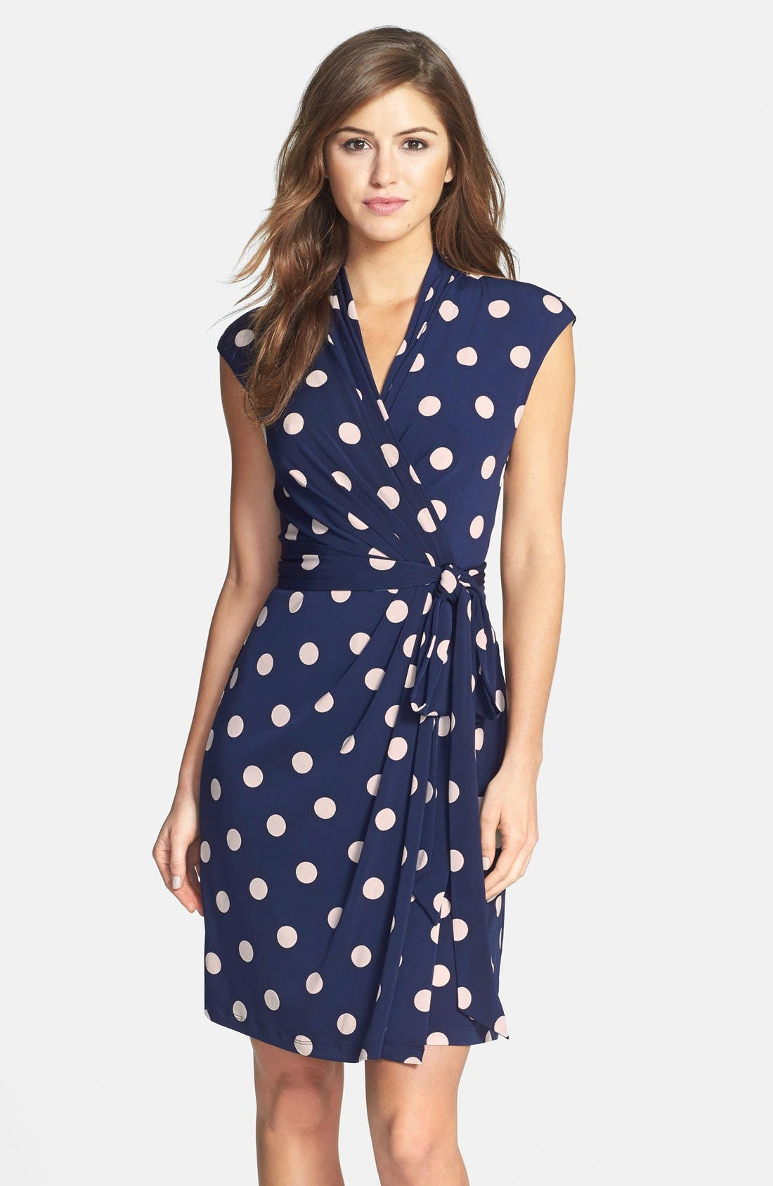 ELIZA J Polka Dot Jersey Faux Wrap Dress