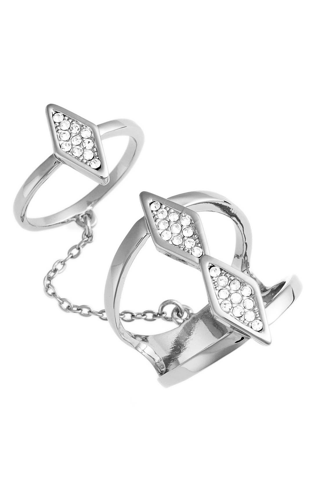 Alternate Image 1 Selected - Rebecca Minkoff Crystal Double Chain Ring