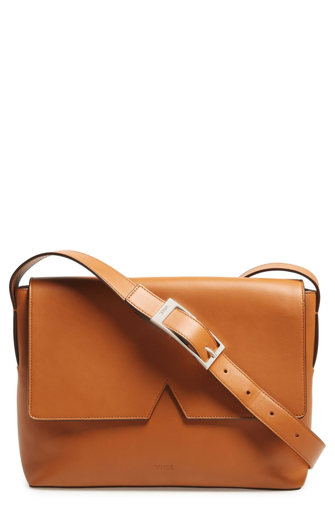 Main Image - Vince 'Signature Collection - Medium' Leather Messenger Bag
